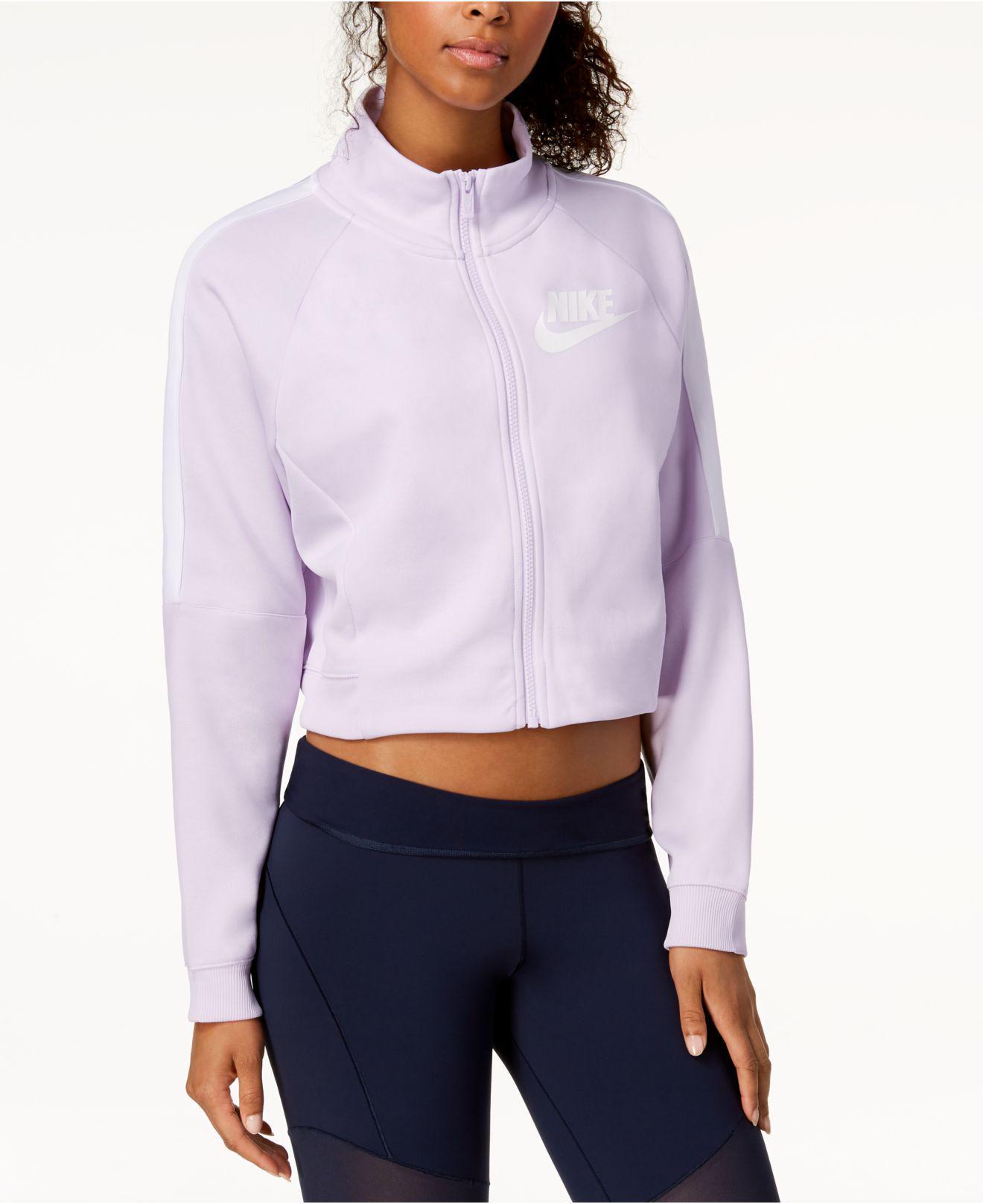 967a7f1bb32c1 Nike Sportswear Cropped Track Jacket in Purple - Lyst