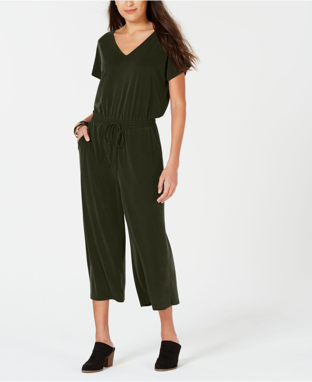 97da354f42a Style   Co. Women s Green Petite Cropped V-neck Jumpsuit ...