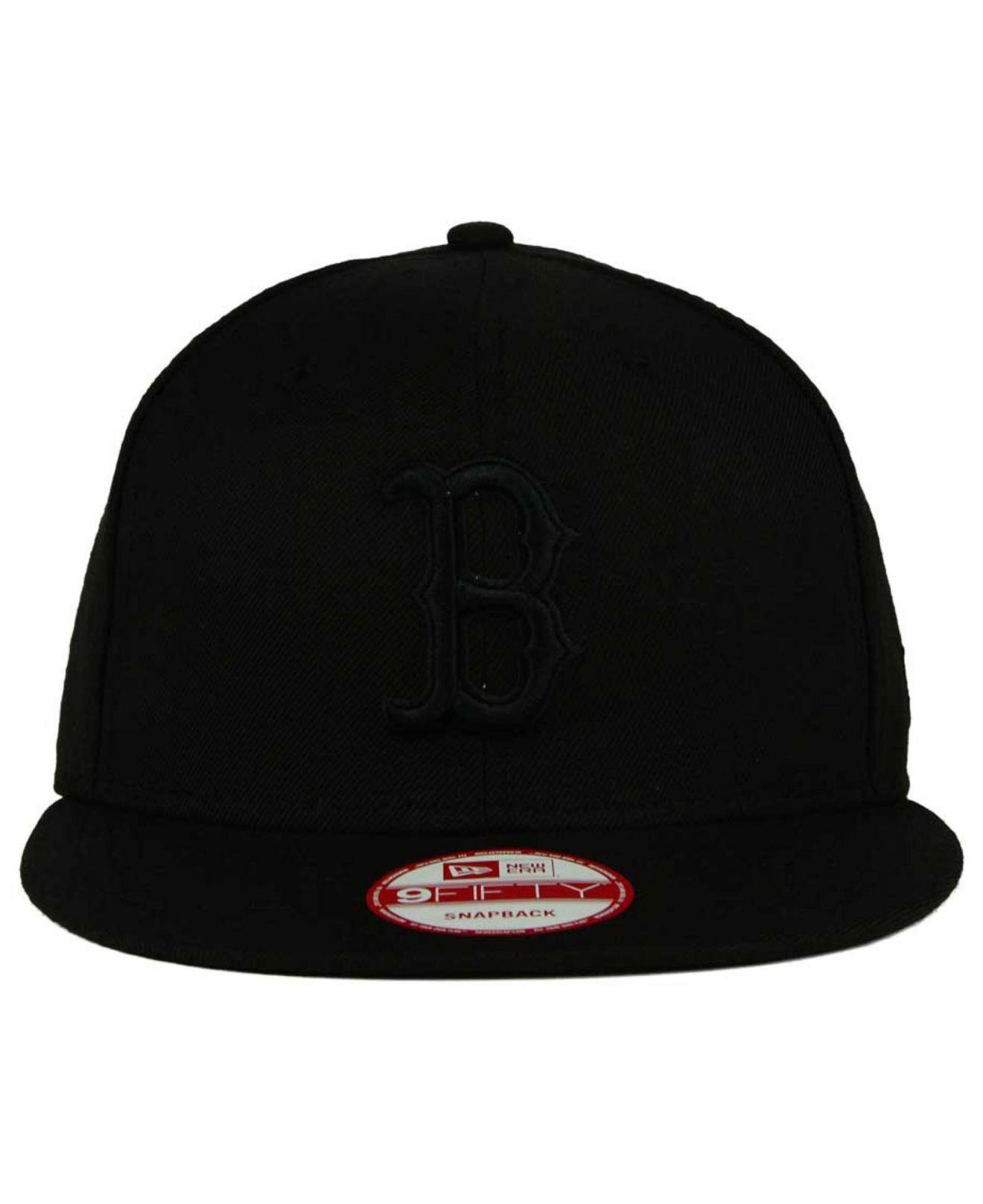 5561d40f877 Lyst - KTZ Boston Red Sox Black On Black 9fifty Snapback Cap in Black for  Men