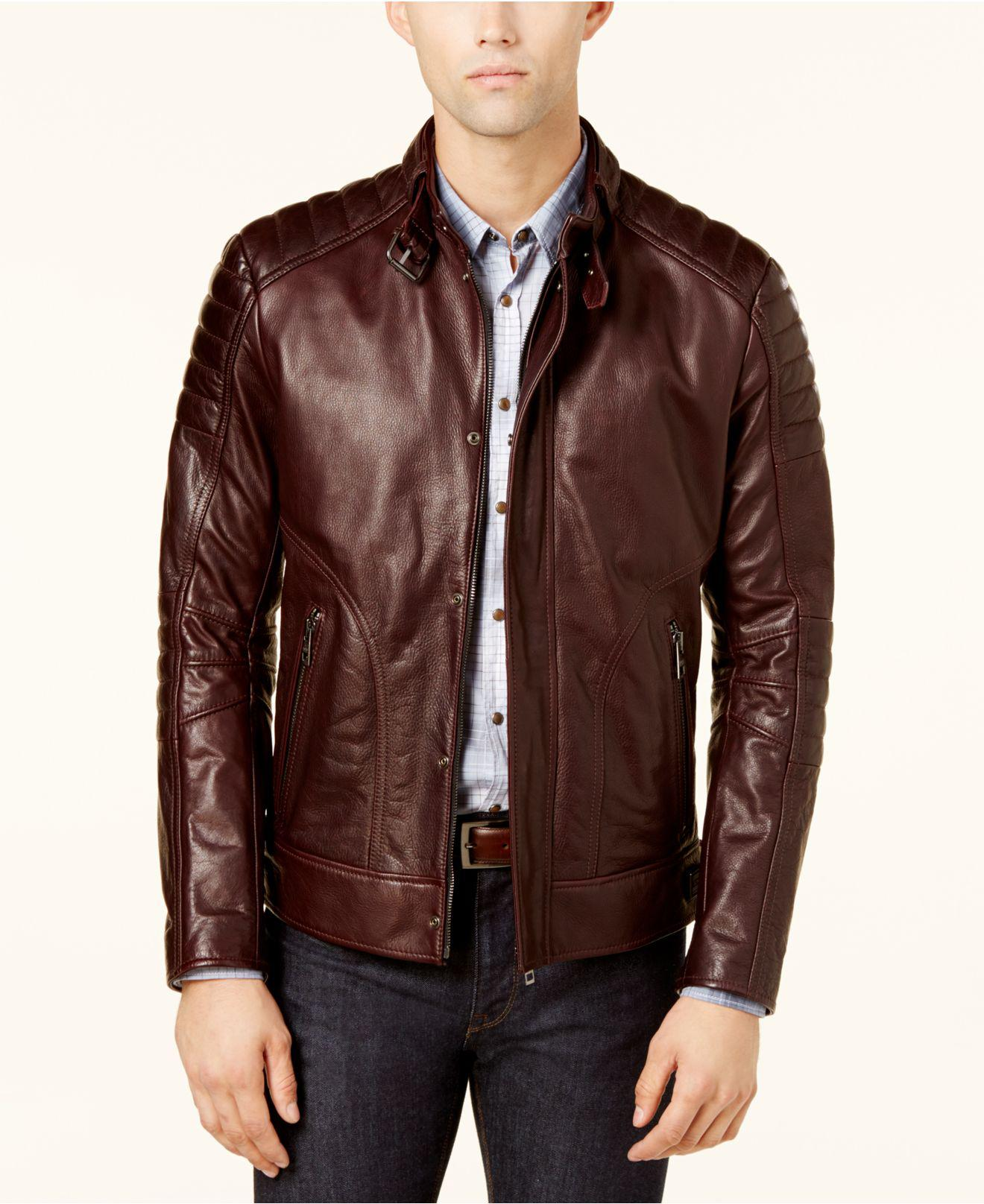 4af0b75da6 BOSS Men's Leather Jacket in Red for Men - Lyst