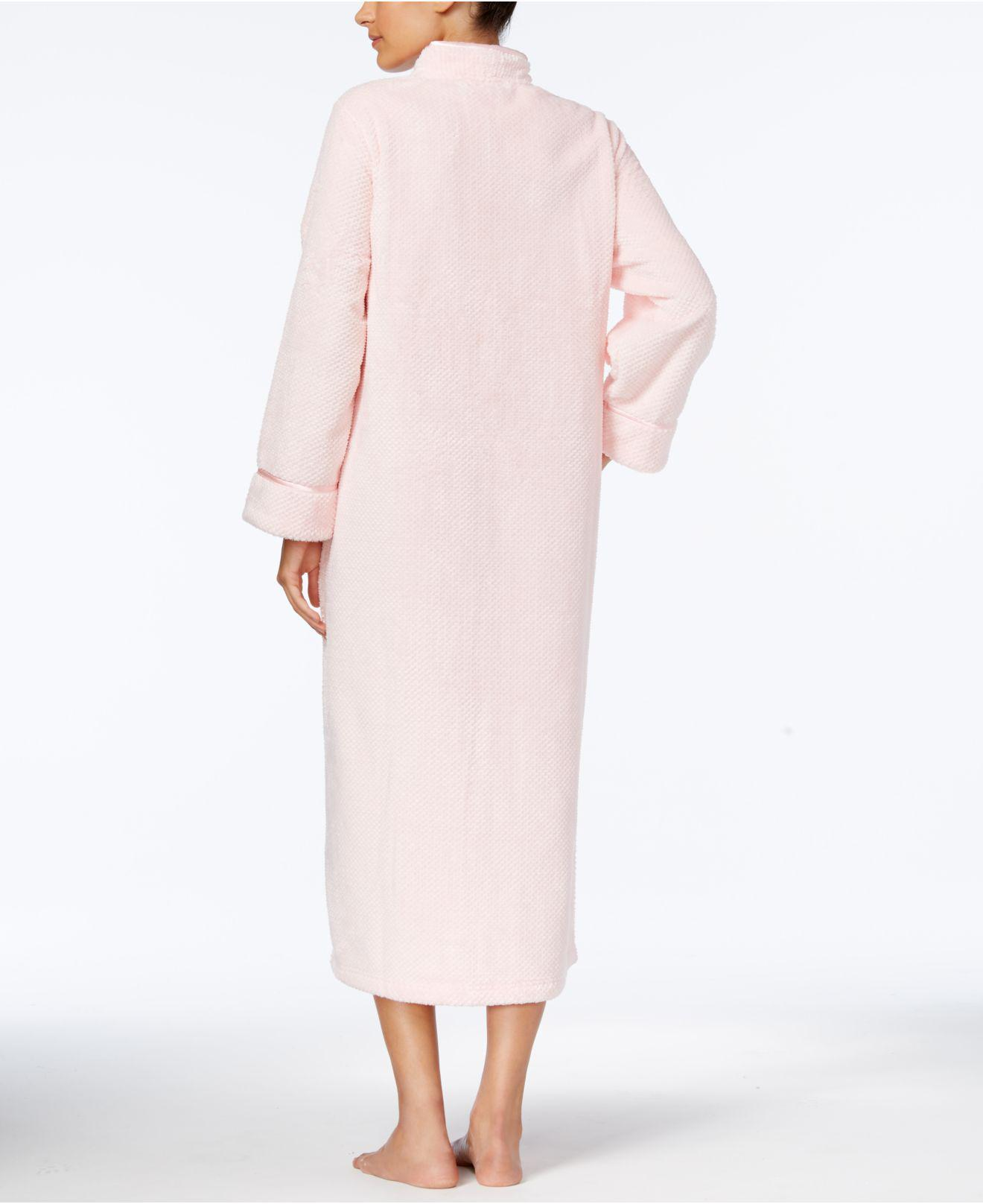 Lyst - Charter Club Long Dimple-textured Zip-front Robe in Pink 61de6322c