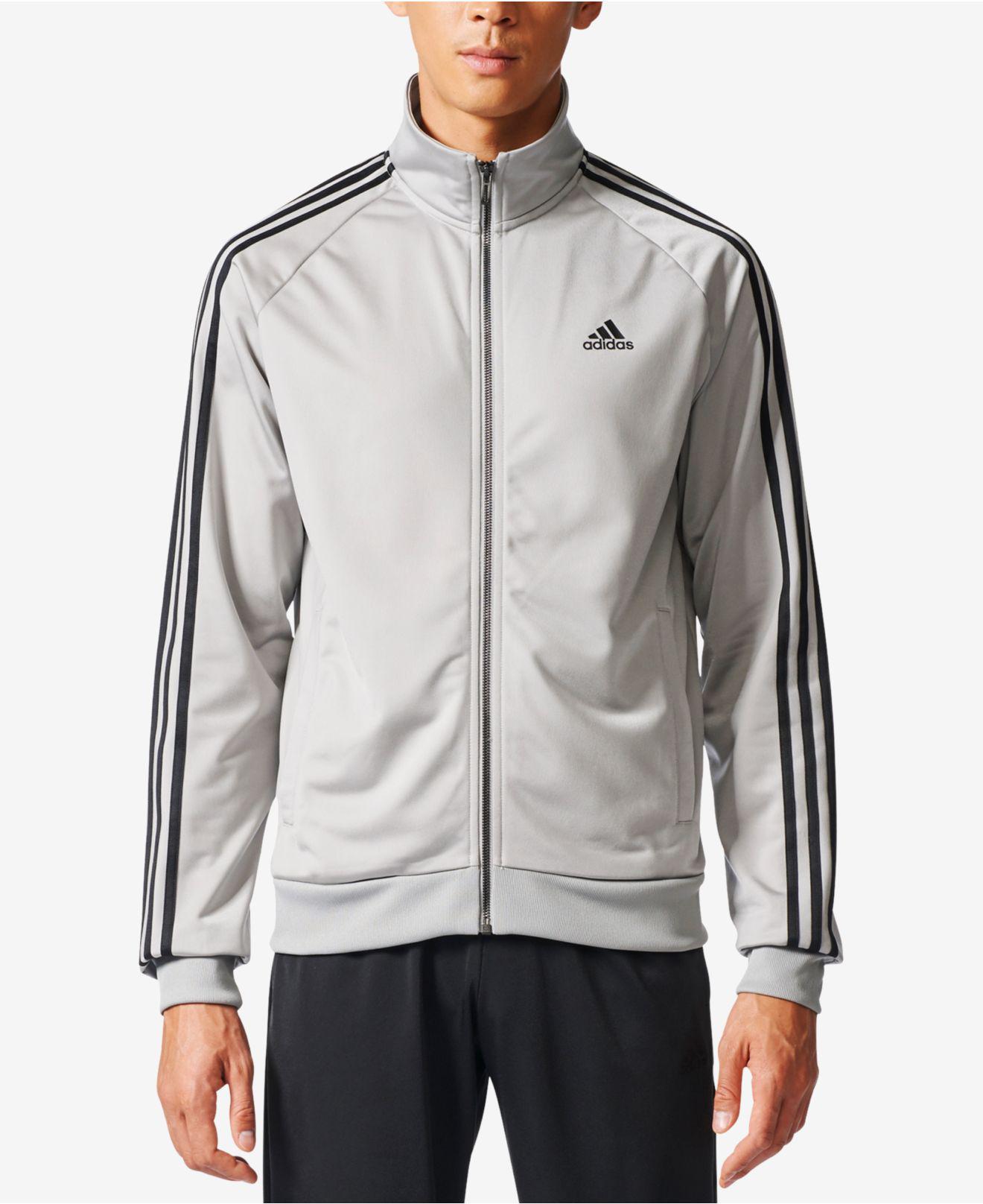 Lyst tre strisce adidas uomini scaldare giacca in grigio per gli uomini.
