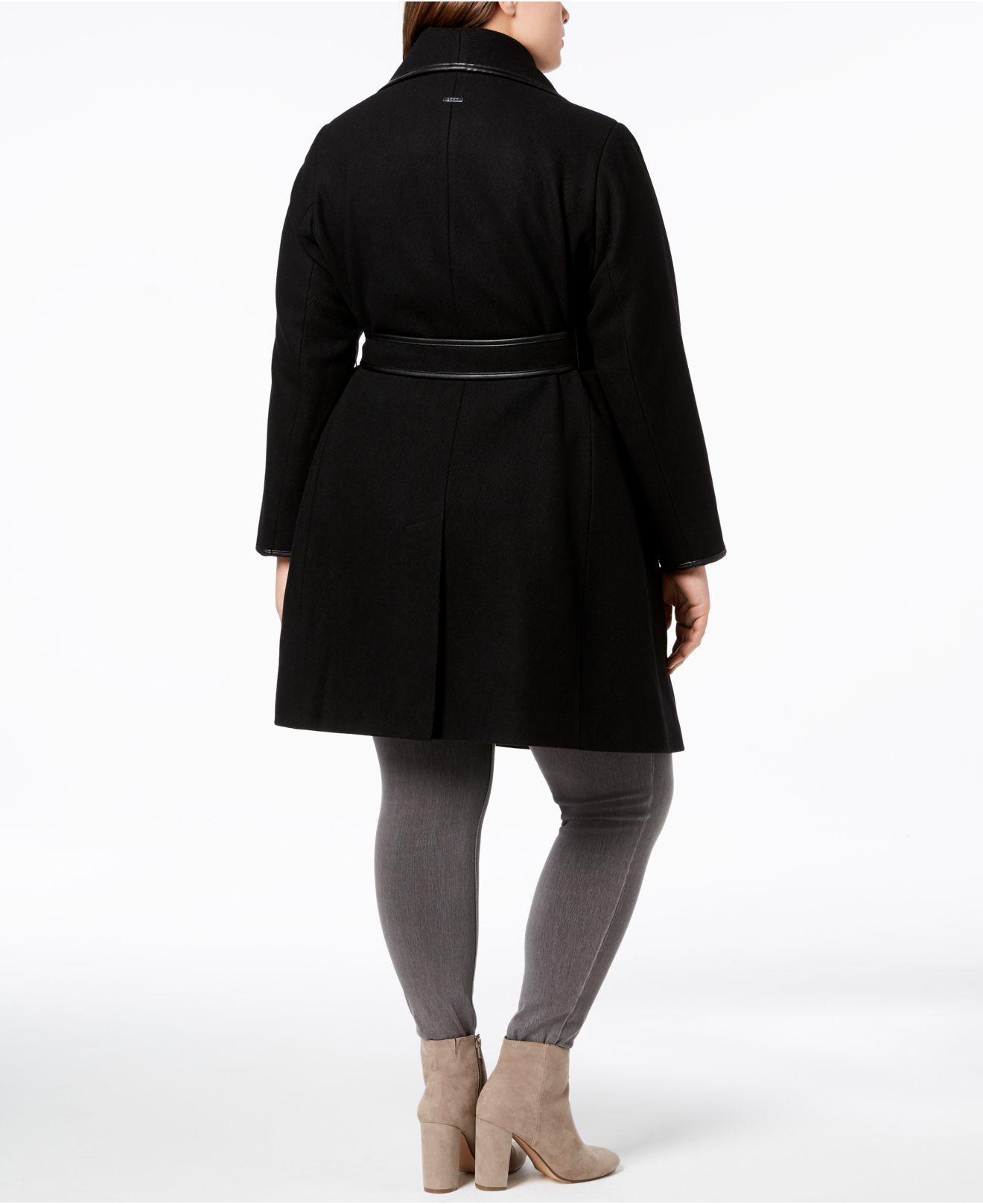 772ee2fd7cfb8 Lyst - DKNY Plus Size Faux-leather-trim Wrap Coat