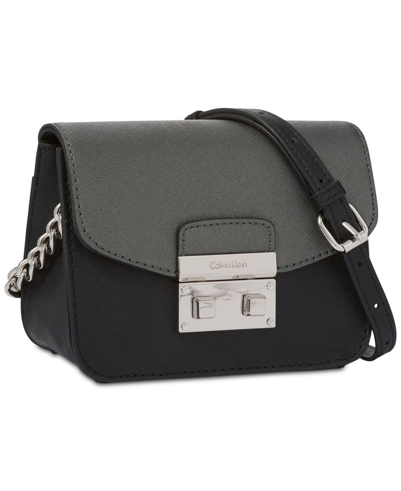 e550591be04 Calvin Klein Saffiano Push-lock Mini Crossbody in Black - Lyst