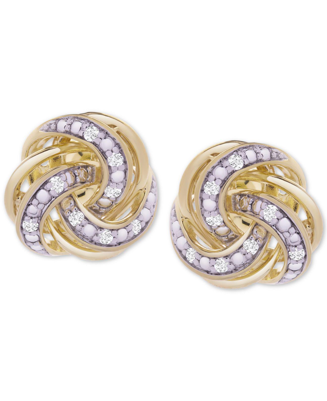 76a1d62daac8e9 Macy's Diamond Knot Stud Earrings (1/10 Ct. T.w.) In 14k Gold-plated ...