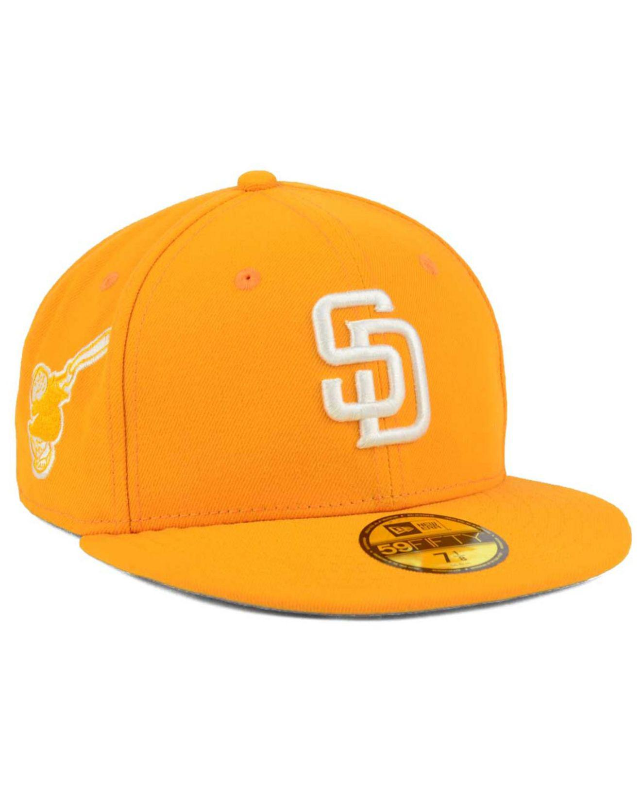 half off dc85c c0542 KTZ. Men s Yellow San Diego Padres C-dub Patch 59fifty Fitted Cap