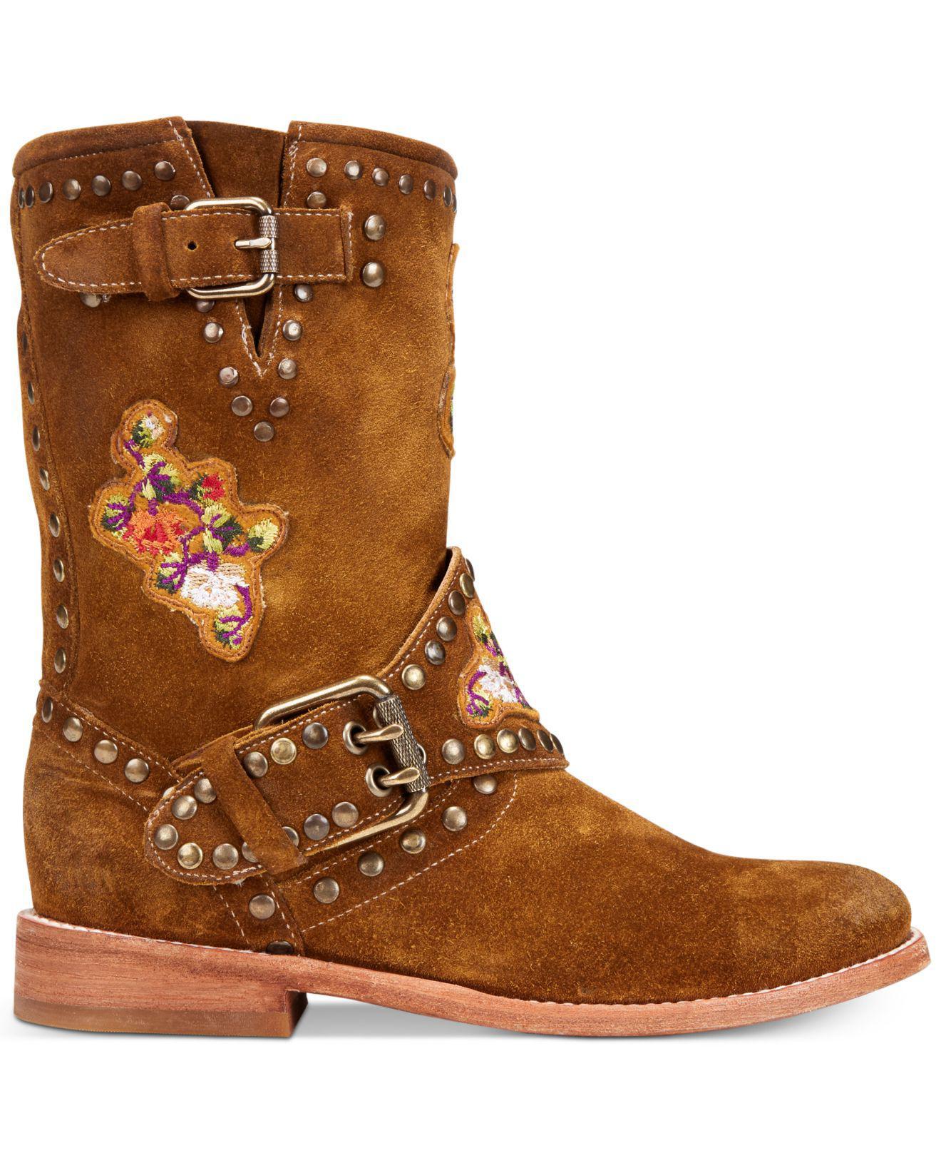 Frye Womens Nat Flower Engineer Boots in Brown