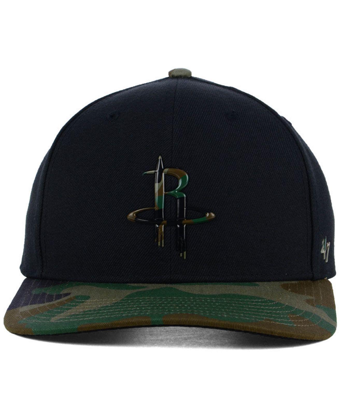 buy online 2d96a 37d1a ... real lyst 47 brand houston rockets caster camo mvp cap in black for men  5f43b 31b2d