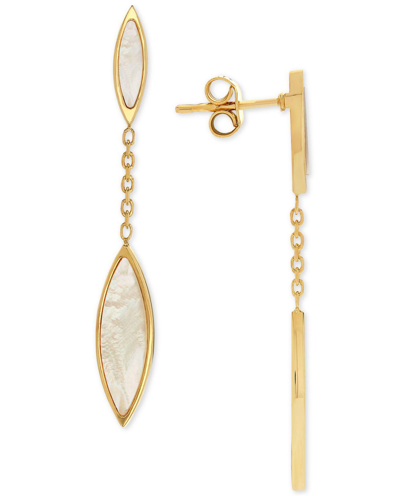 20519cec203cd Lyst - Macy's Mother-of-pearl Marquis Drop Earrings In 14k Gold in ...