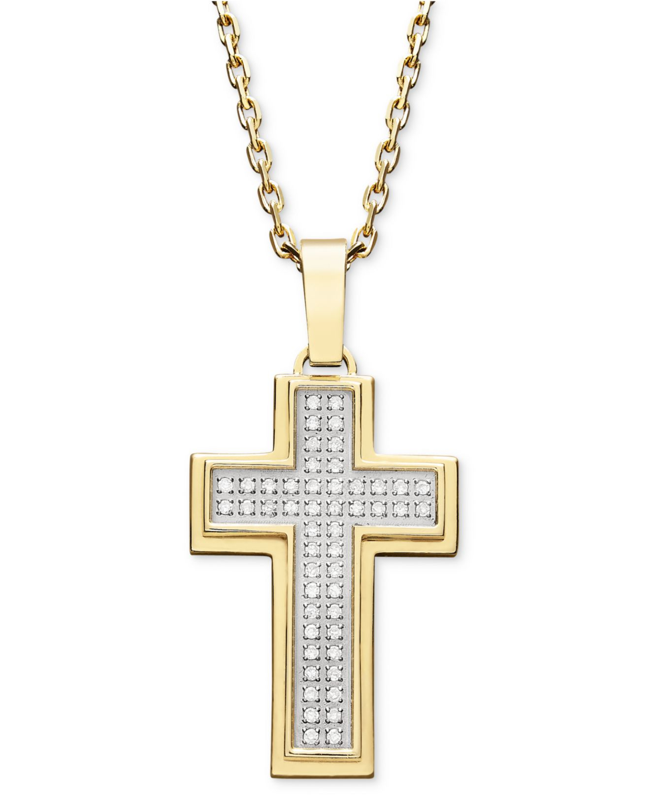 Macy s Men s Diamond Cross Pendant Necklace In Gold Ion plated