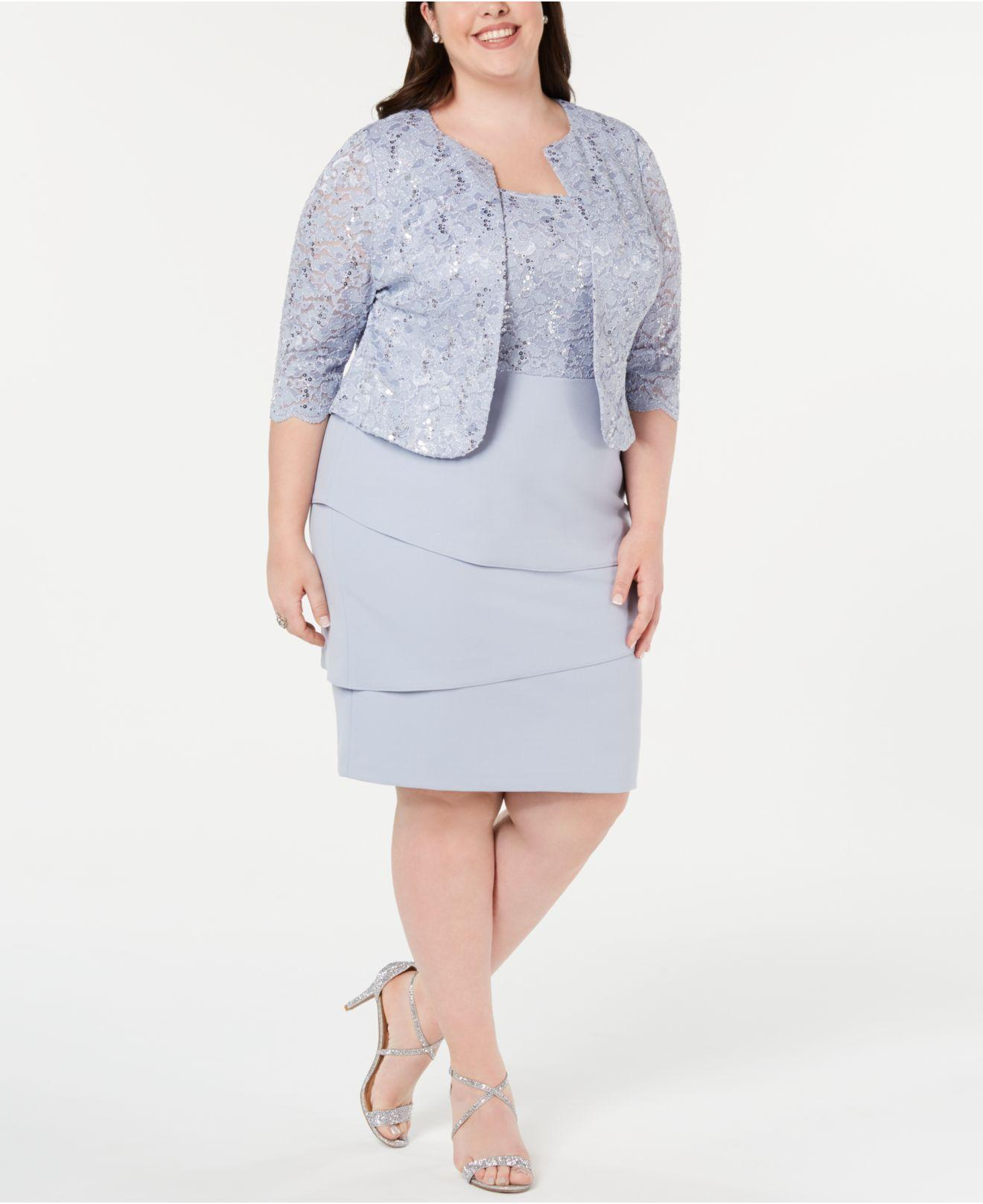 5bc8219d321 Lyst - Alex Evenings Plus Size Sequined Lace Jacket   Shift Dress in ...