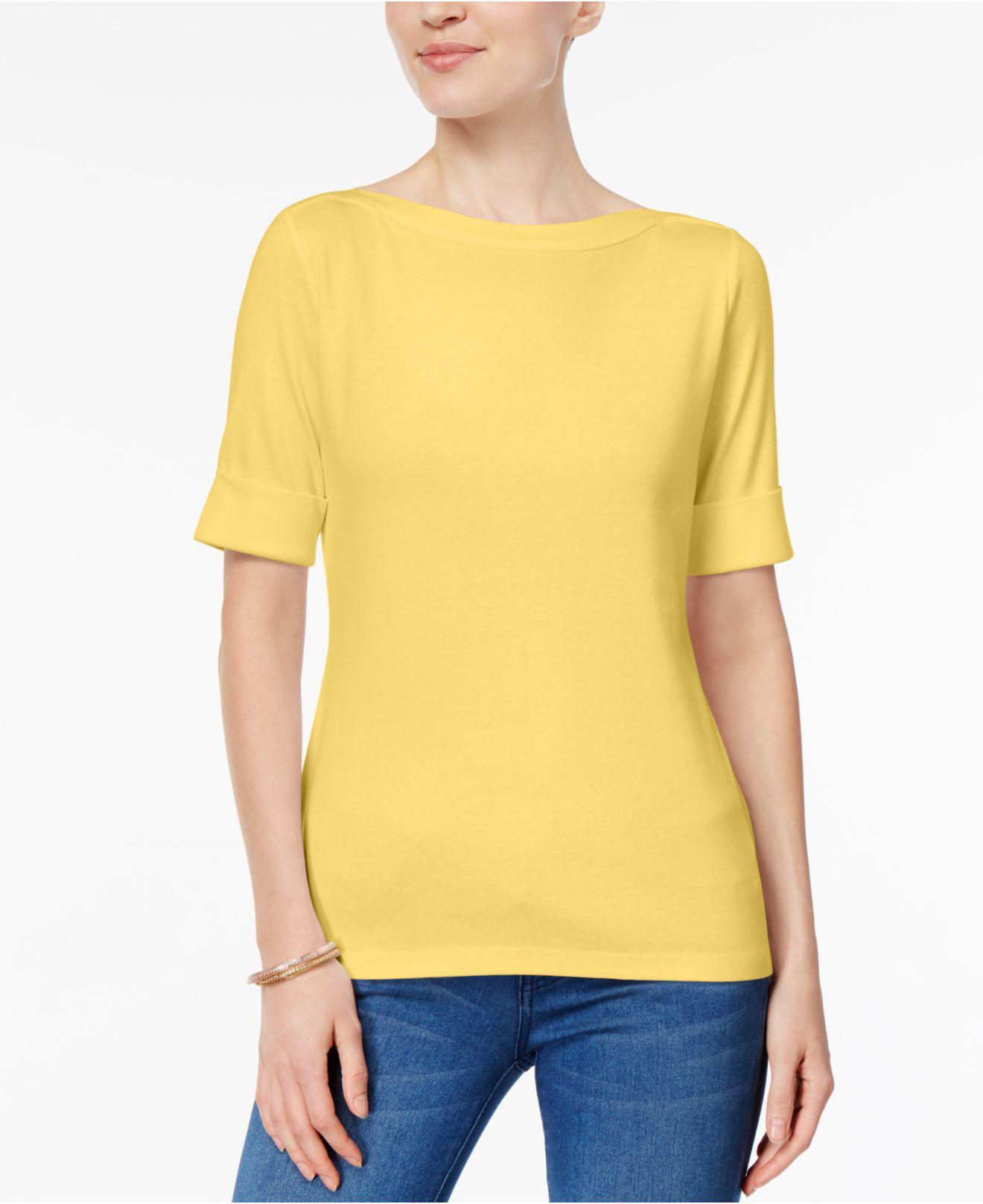 Lyst Karen Scott Cotton Boat Neck Top Created For Macy S In Yellow