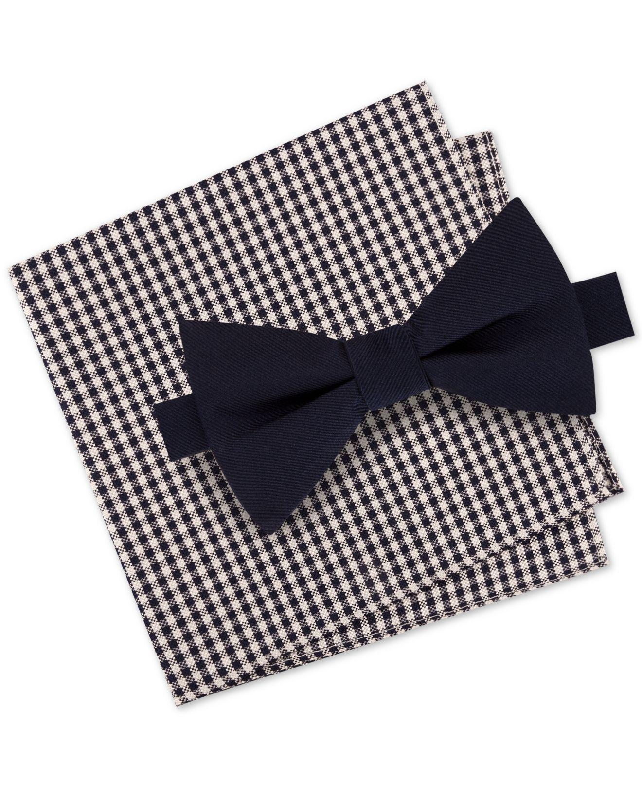 3e874db65f1d Lyst - Tommy Hilfiger Dot To-tie Silk Bow Tie & Solid Silk Pocket ...
