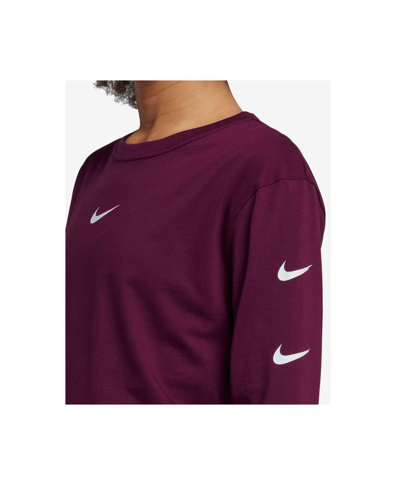 4176bbed2fca Lyst - Nike Sportswear Cotton Long-sleeve Logo Top in Purple