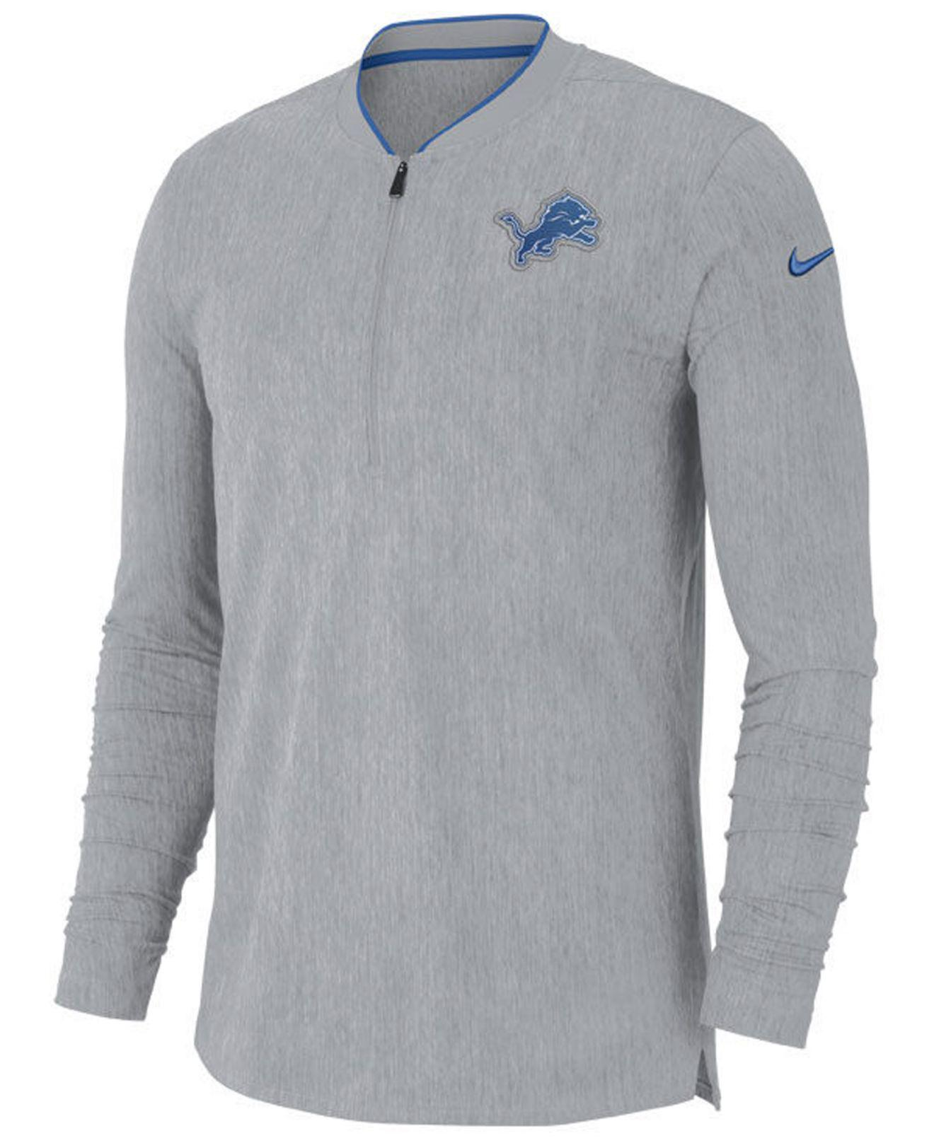 48116bb683251 Lyst - Nike Detroit Lions Coaches Quarter-zip Pullover in Gray for Men