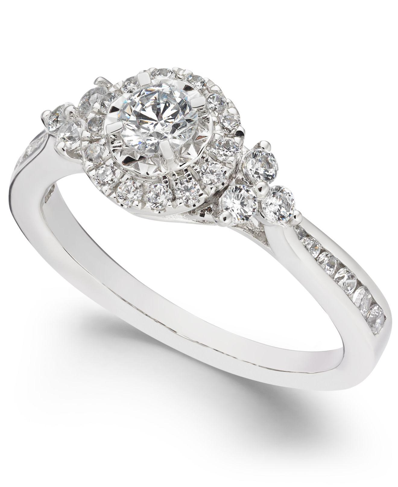 Macy's Diamond Halo Engagement Ring (5/8 Ct. T.w.) In 14k