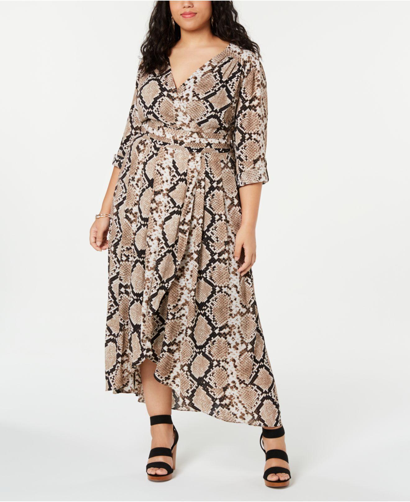 56920e603dfe2 Women s I.n.c. Plus Size Snake Printed Faux-wrap Midi Dress
