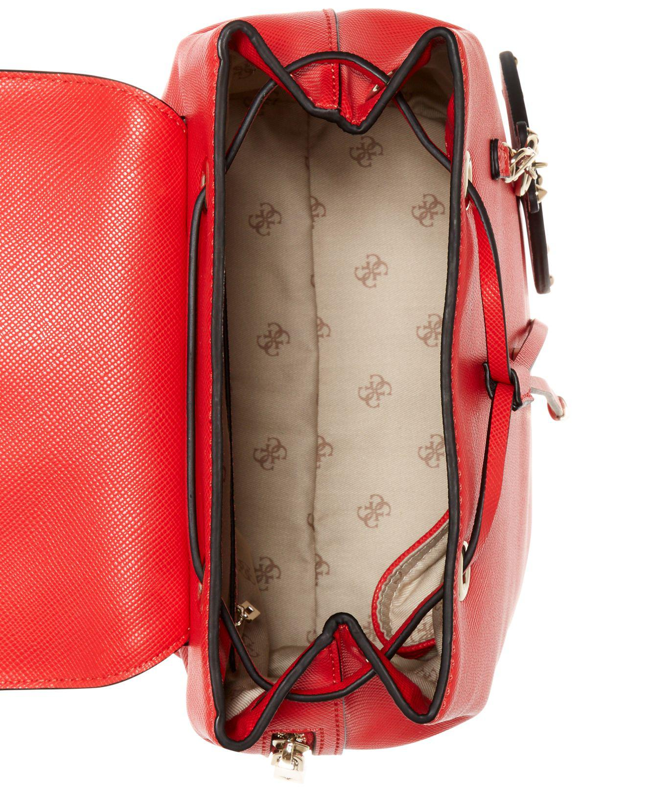 64f7b1deb8 Lyst - Guess Varsity Pop Logo Pin Up Small Backpack in Red
