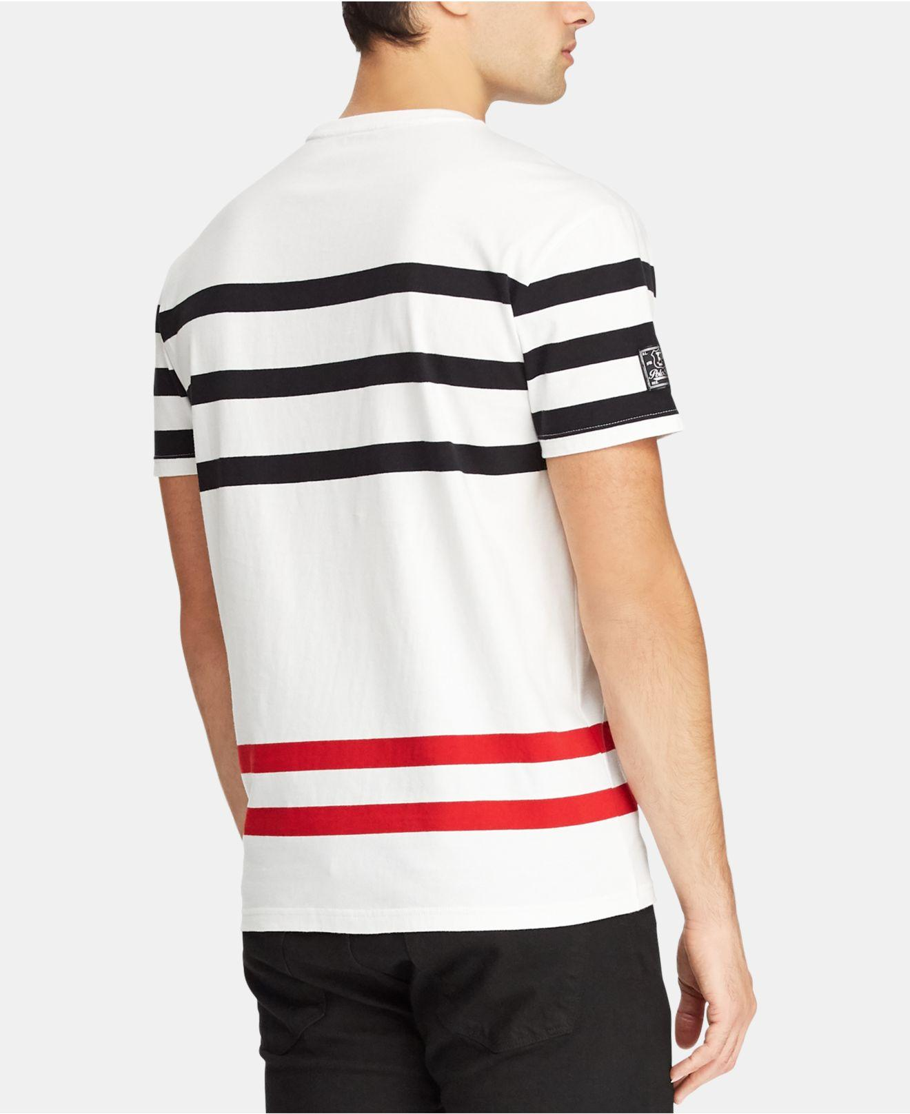 83055b0d88f764 Lyst - Polo Ralph Lauren Cotton Stripe Tee in White for Men - Save 51%