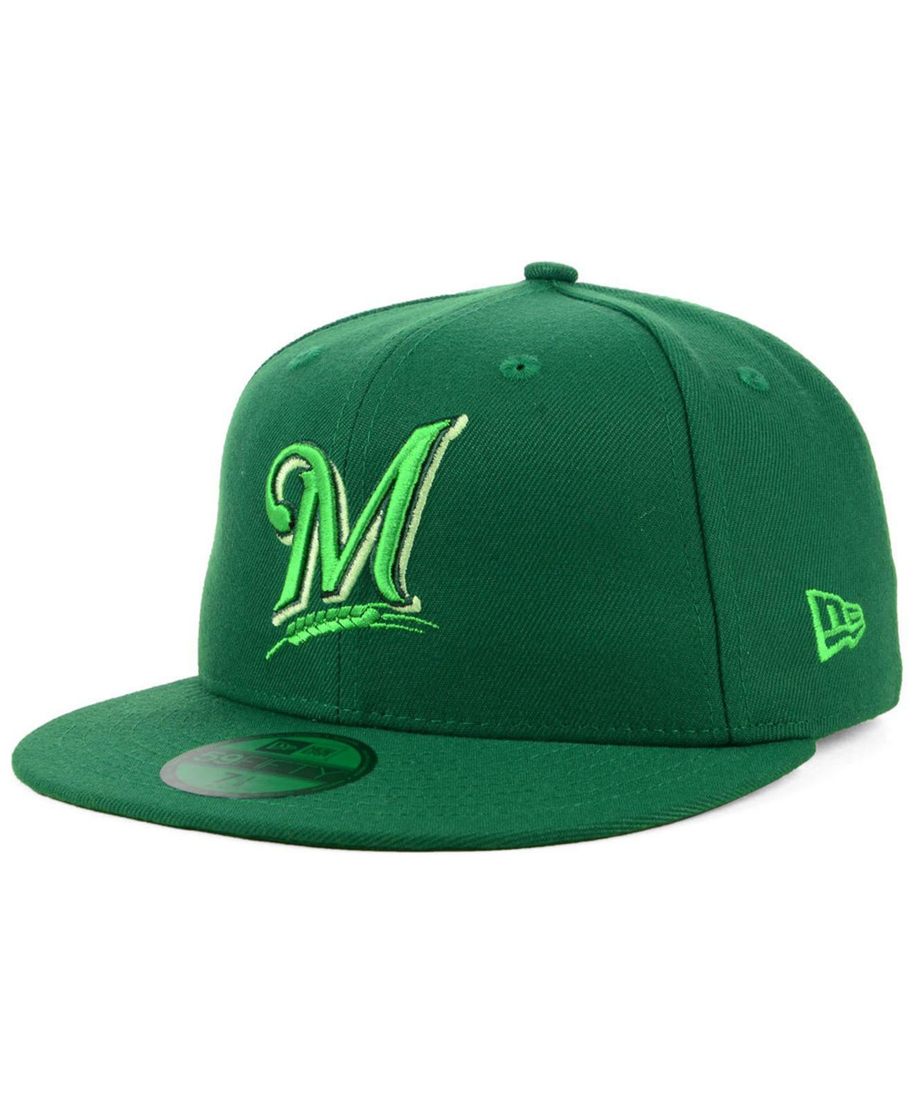 detailed look 28879 e4aa3 ... uk ktz. mens green milwaukee brewers prism color pack 59fifty cap 95363  18252