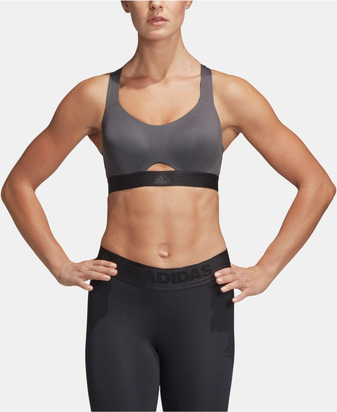 47d8e12396 Lyst - adidas Stronger Cross-back High-support Sports Bra in Gray