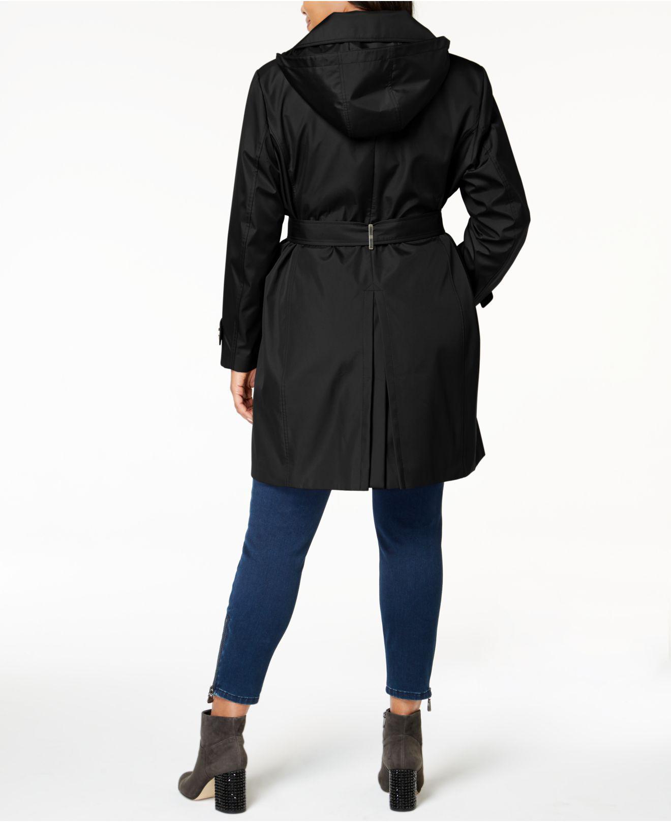 30039aee7d8ec Lyst - Calvin Klein Plus Size Waterproof Trench Coat in Black