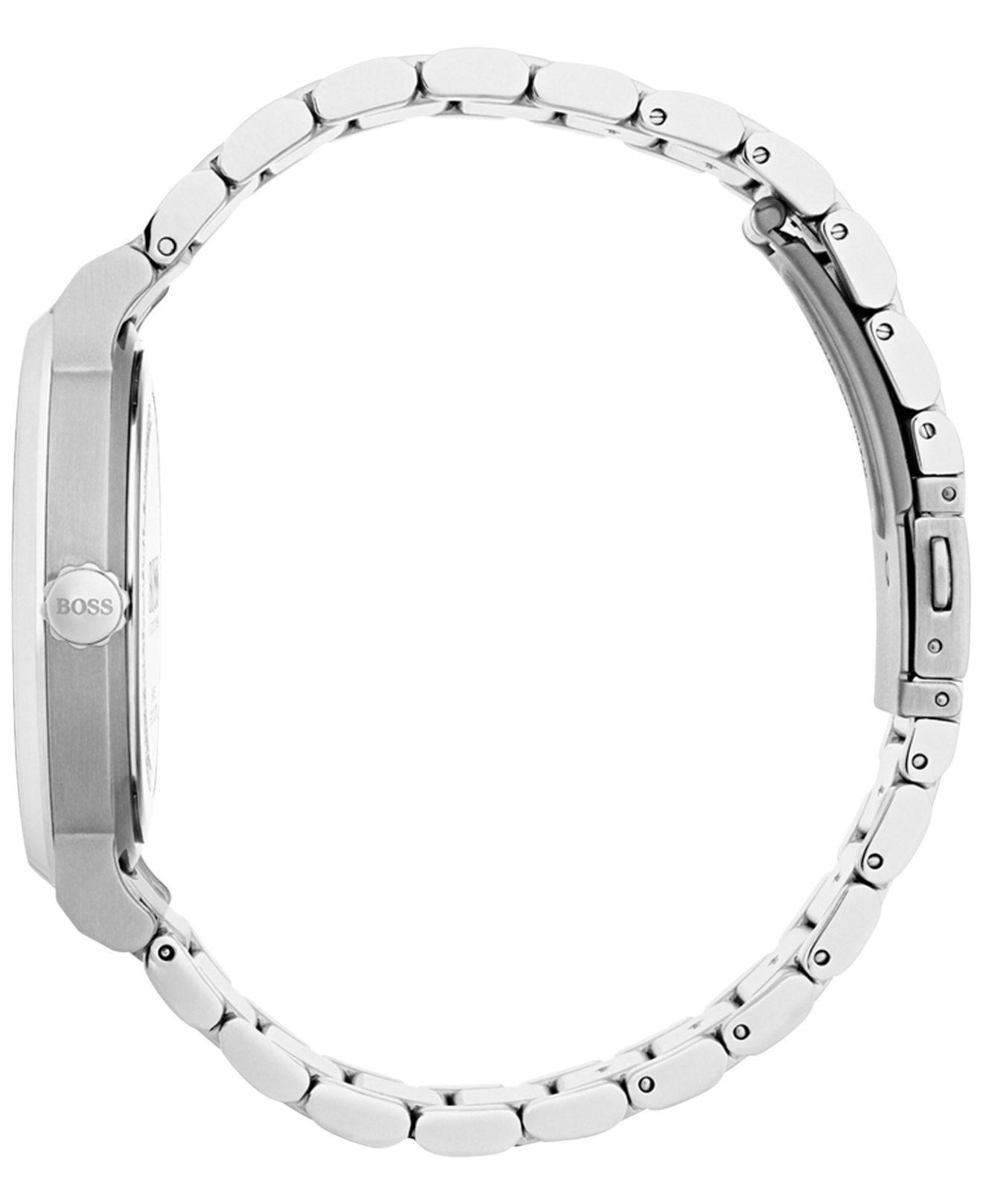 fb9c5e138b1 Lyst - BOSS Men s Essence Black Stainless Steel Bracelet Watch 42mm 1513501  in Metallic for Men