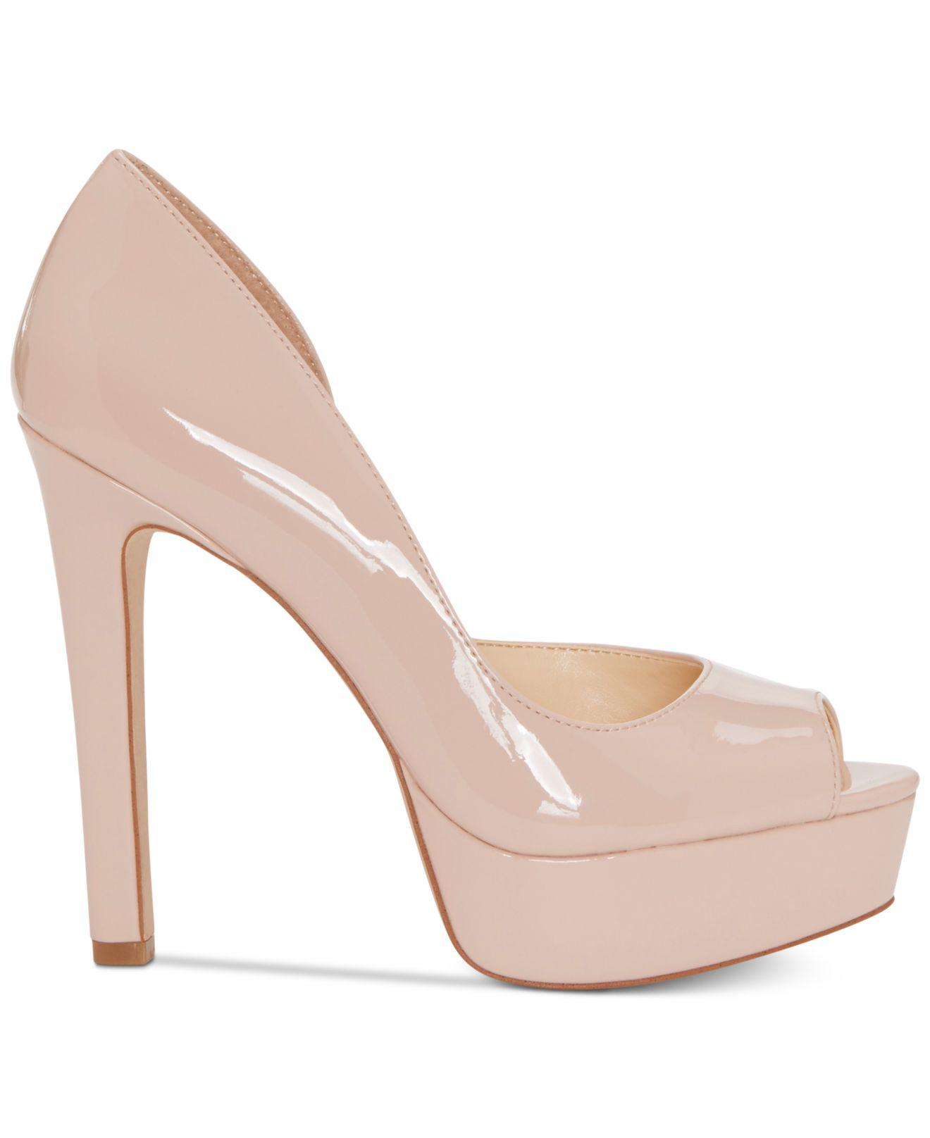 d595dedd3de Lyst - Jessica Simpson Martella Peep-toe Platform Pumps in Natural - Save  61%