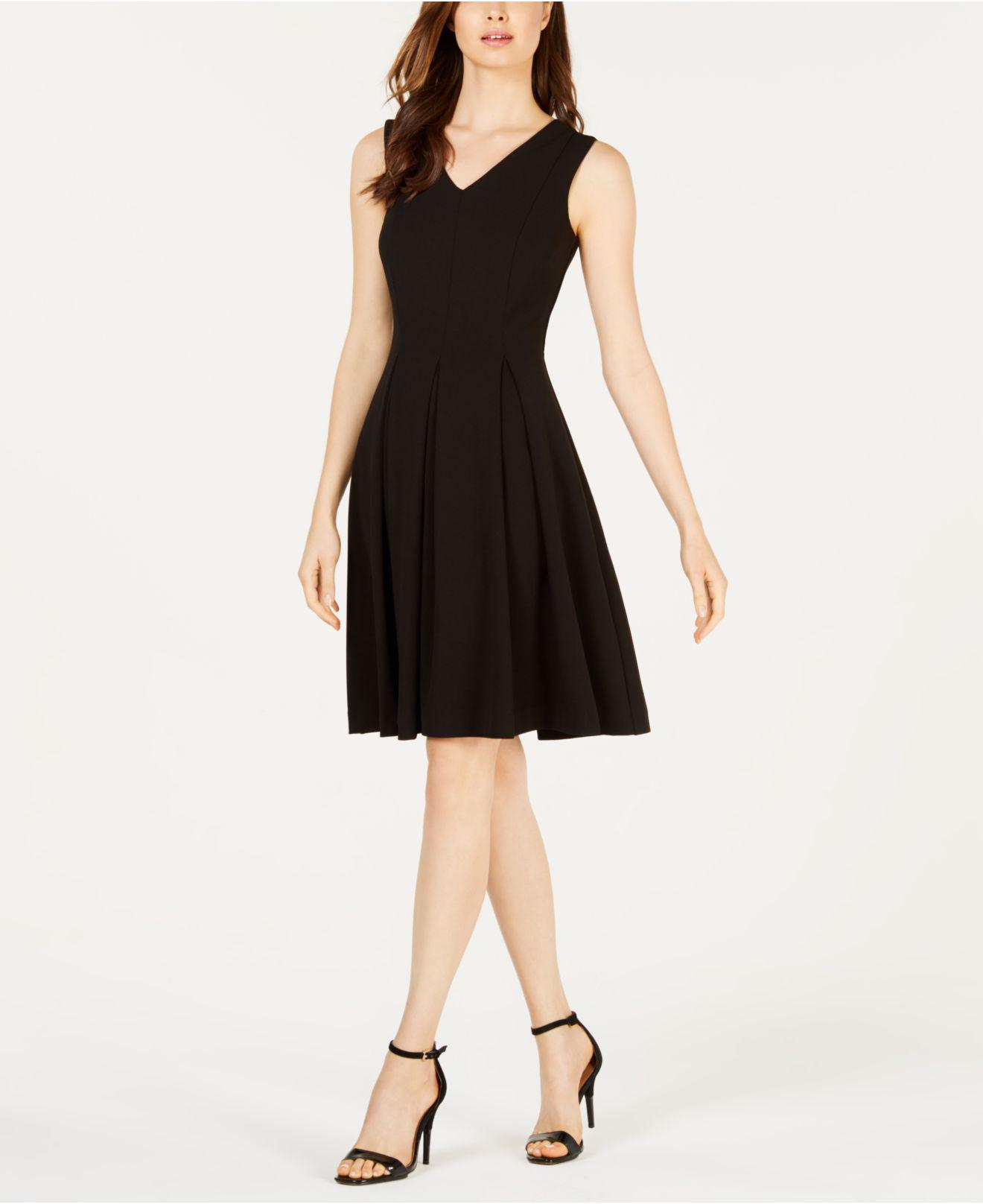 16cf51f70d5e00 Lyst - Calvin Klein Illusion-back Fit   Flare Dress in Black - Save ...