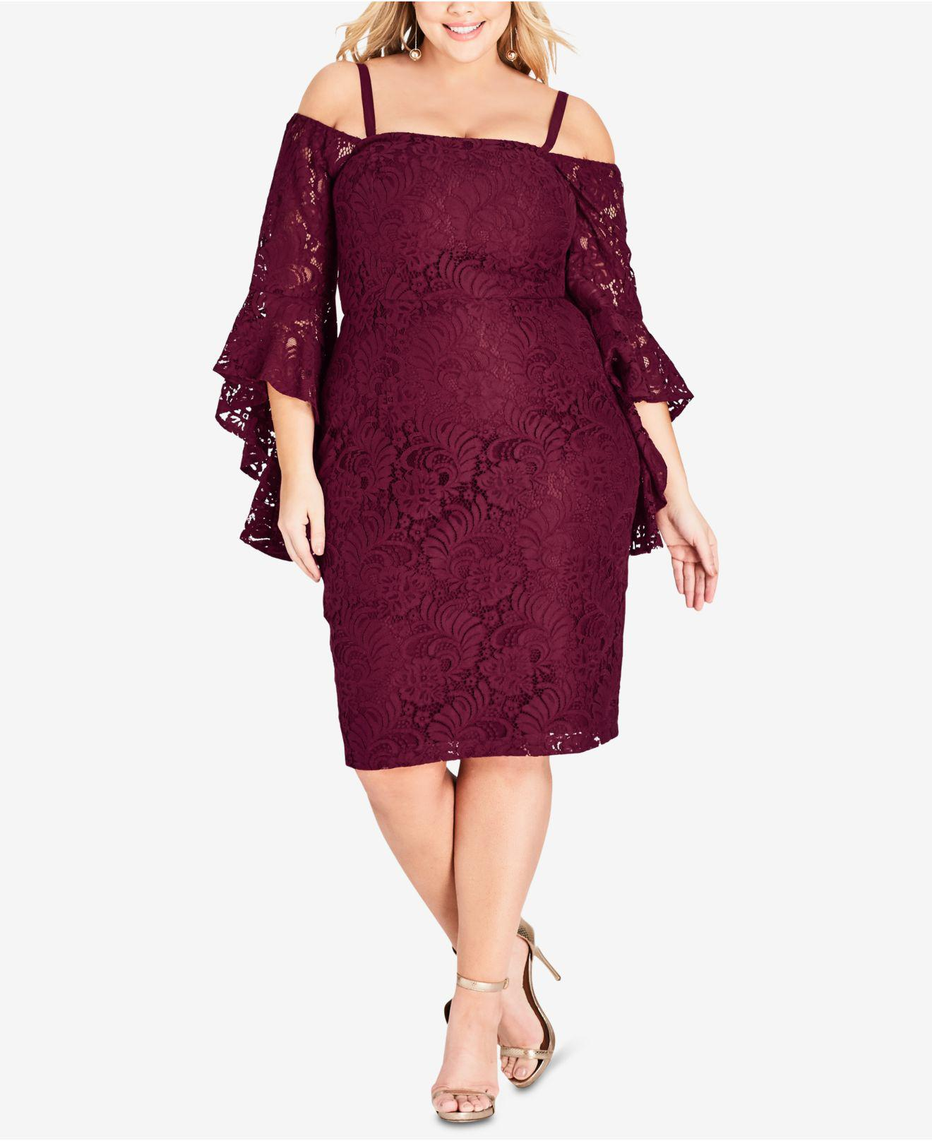 5de752f214b Lyst - City Chic Trendy Plus Size Off-the-shoulder Lace Dress in Red