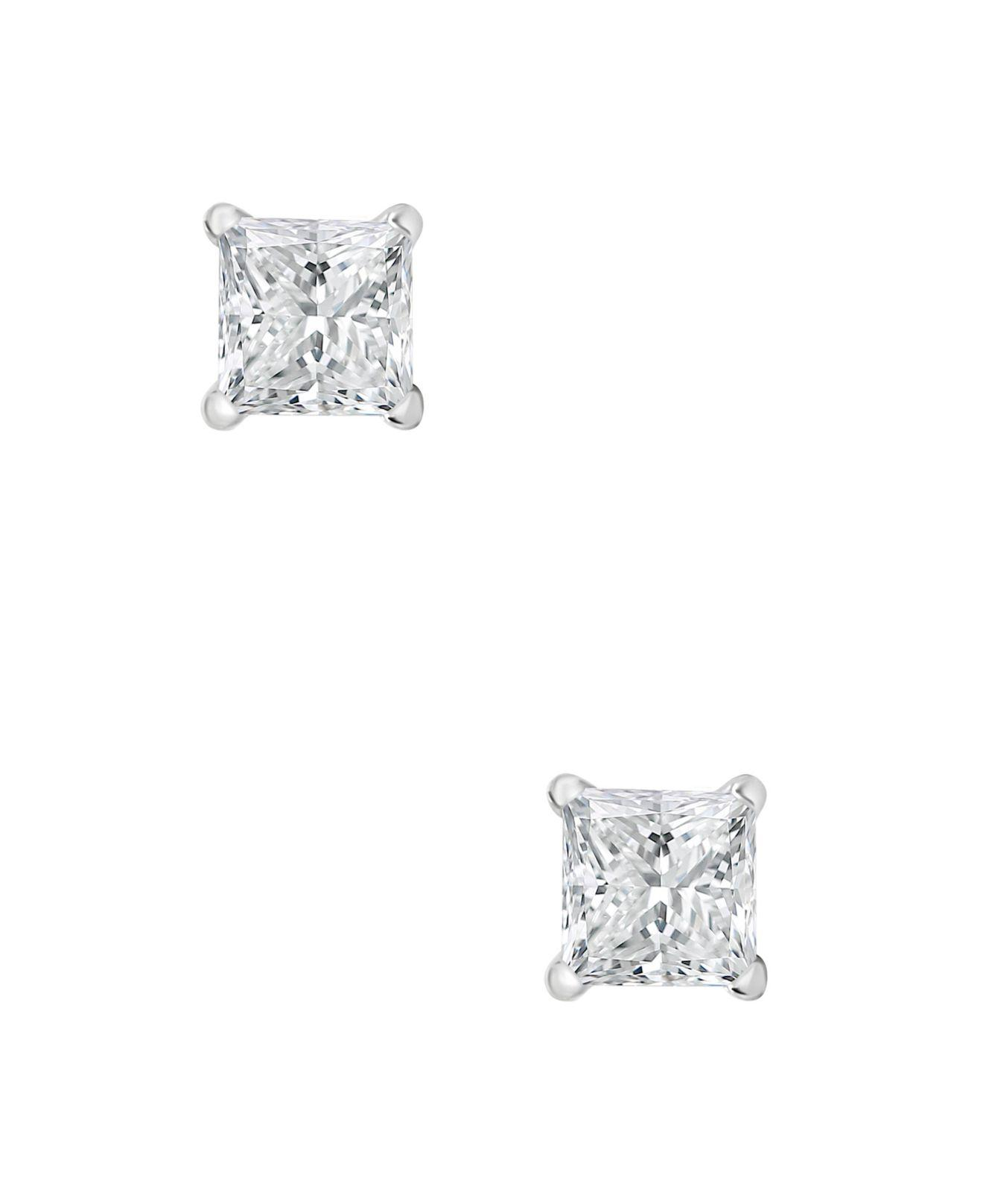 1698a720d Macy's Certified Princess Cut Diamond Stud Earrings (1 Ct. T.w.) In 14k  White Gold Or Yellow Gold in White - Lyst