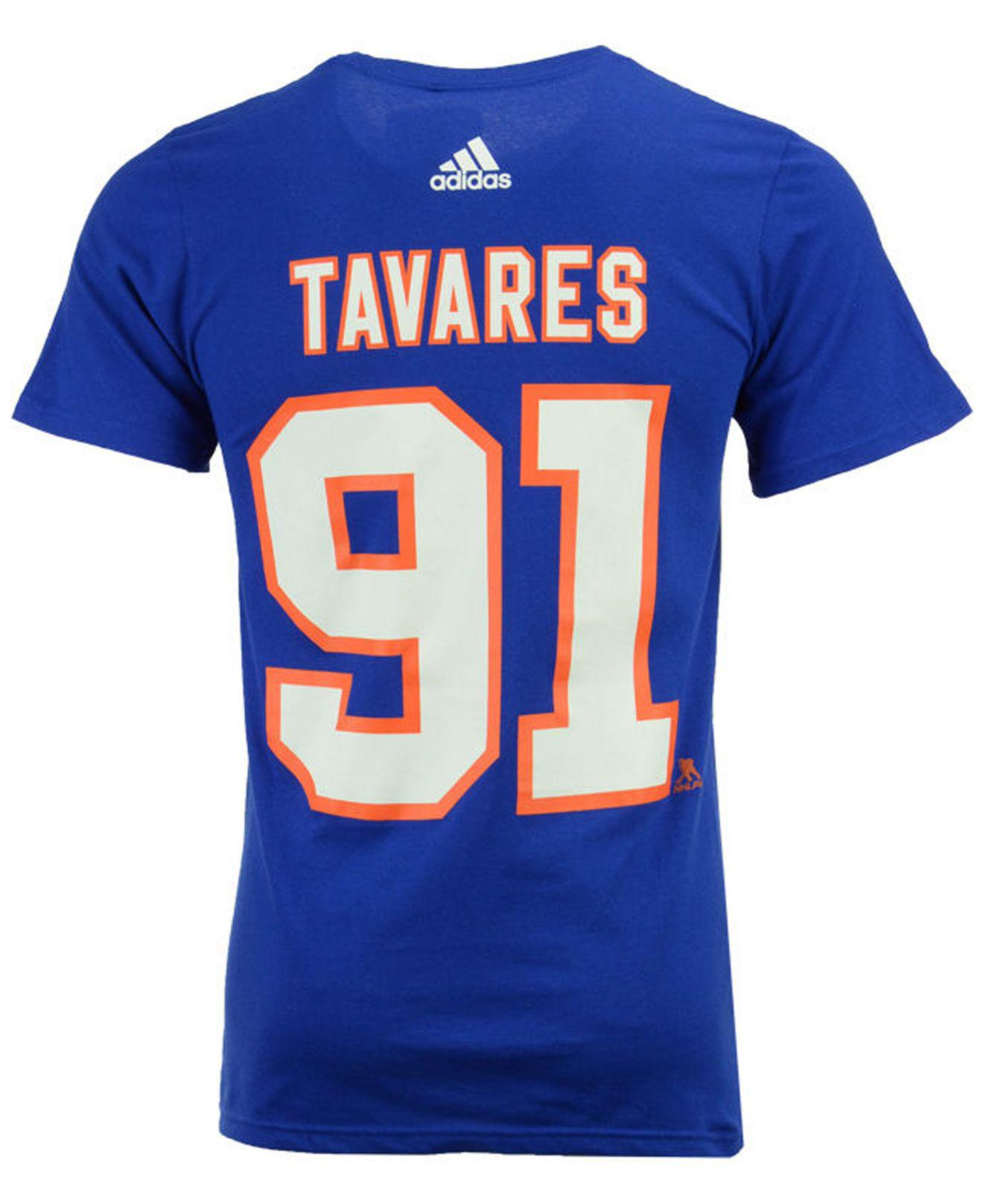 fa10168d1 Lyst - Adidas John Tavares New York Islanders Silver Player T-shirt in Blue  for Men