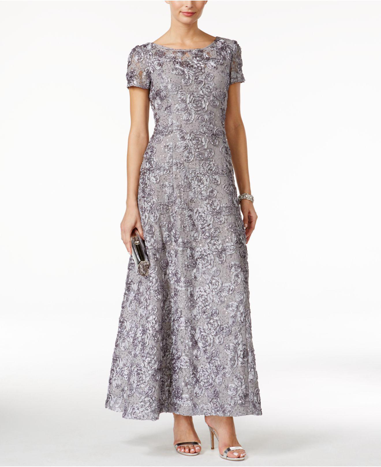 1c717f6896e Alex Evenings A-line Rosette Dress in Gray - Lyst