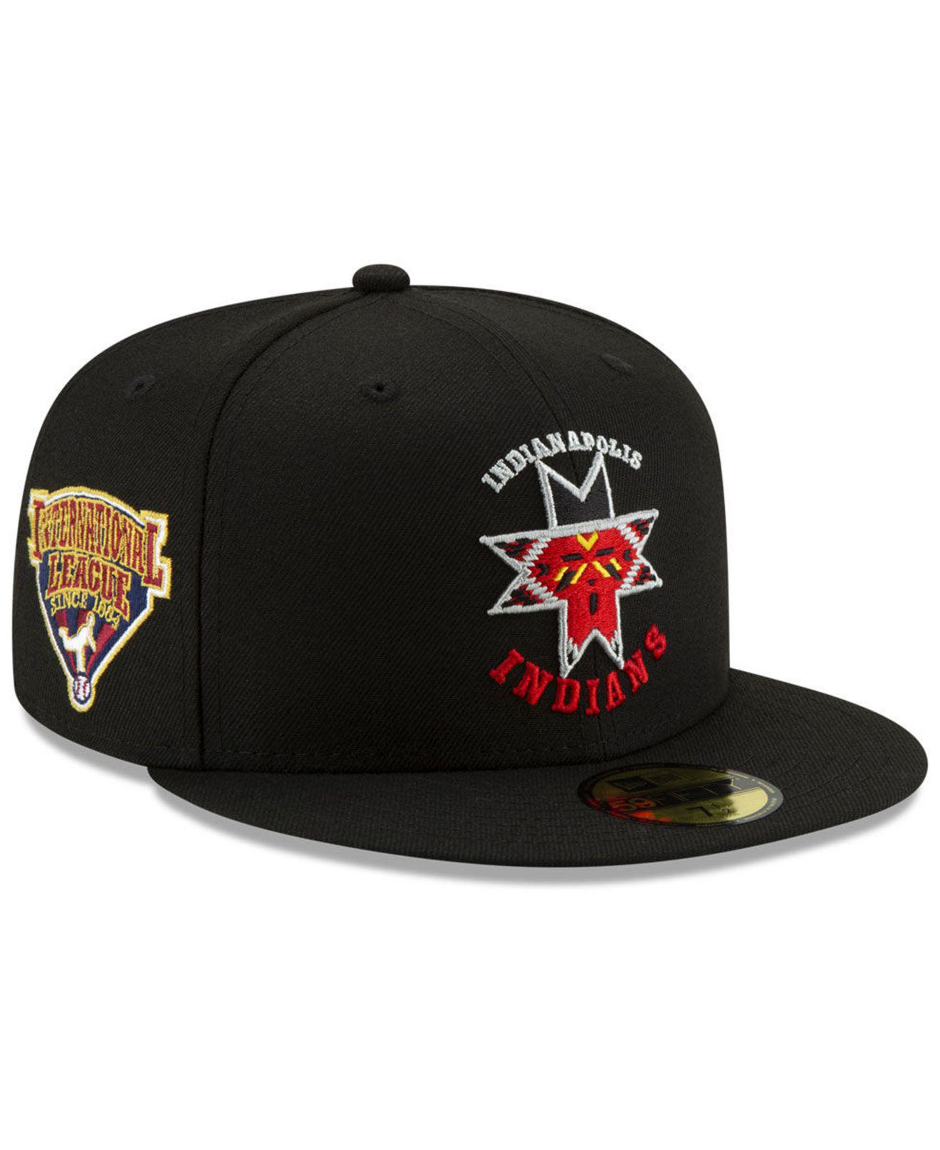 quality design 11da6 9dbd5 KTZ. Men s Black Indianapolis Indians League Patch 59fifty-fitted Cap