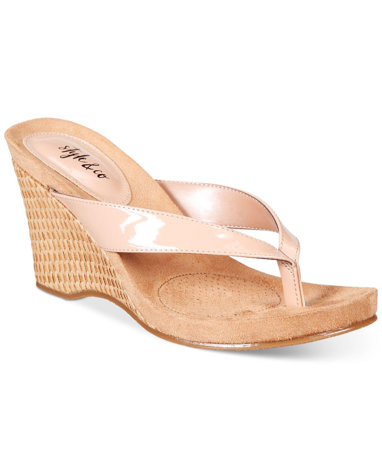 8d2687c2999 Lyst - Style   Co. Chicklet Wedge Sandals in Natural