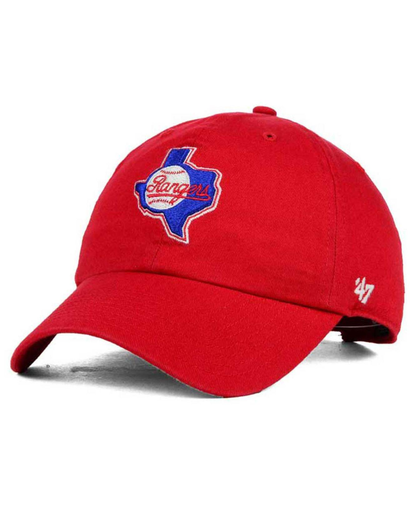 size 40 63e45 8bfd6 Lyst - 47 Brand Texas Rangers Core Clean Up Cap in Red for Men