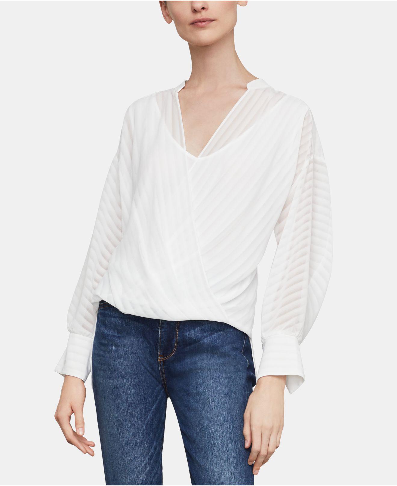 31968a72841f1 Lyst - BCBGMAXAZRIA Faux-wrap Chiffon Top in White