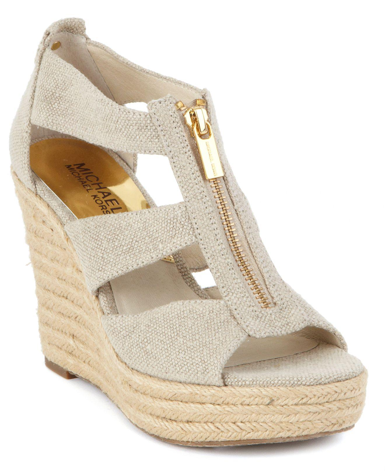 b614d621142 Michael Kors Damita Canvas Wedge Sandals in Natural - Save 55% - Lyst