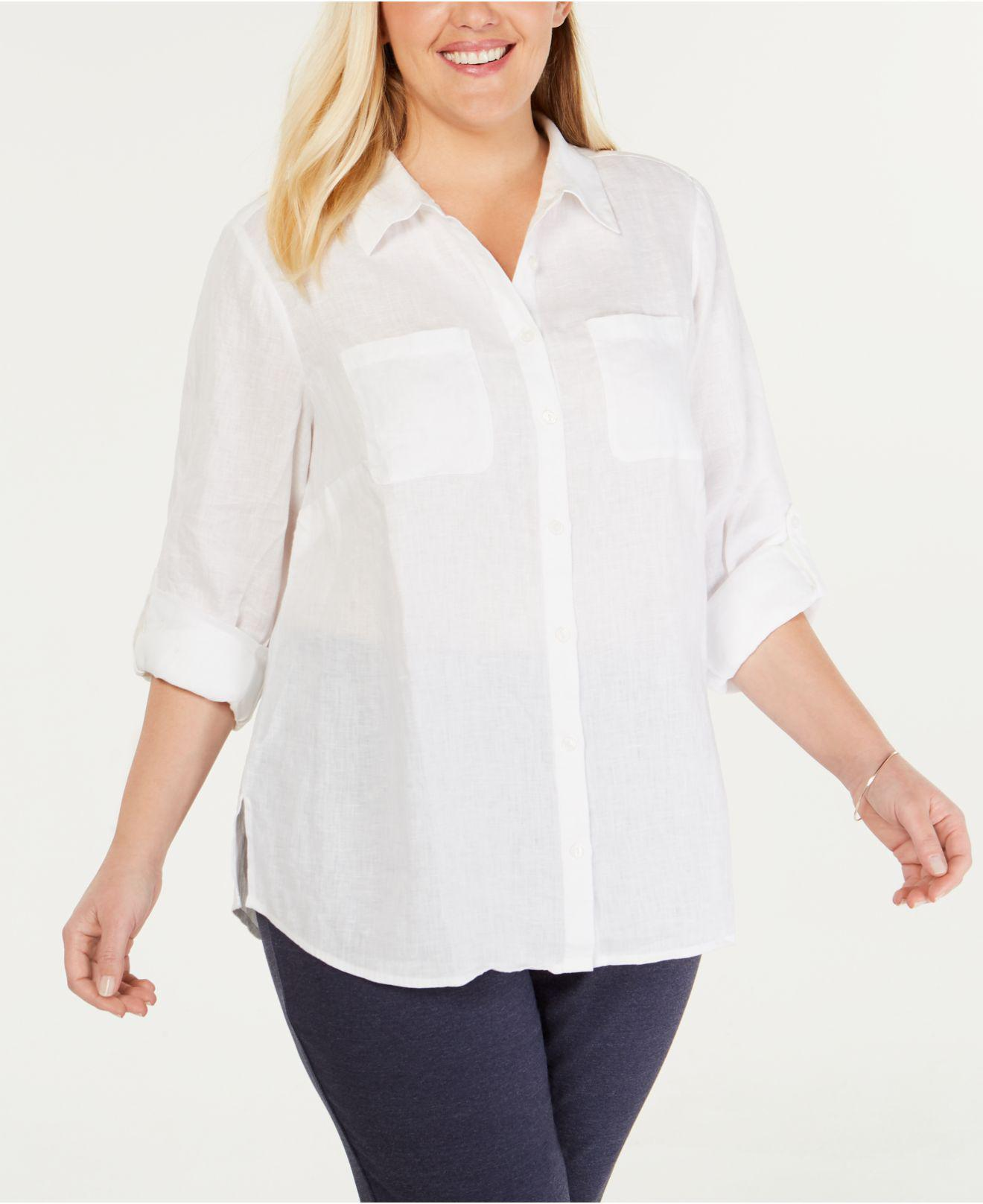 0cf59e94 Lyst - Charter Club Plus Size Linen Utility Shirt, Created For ...