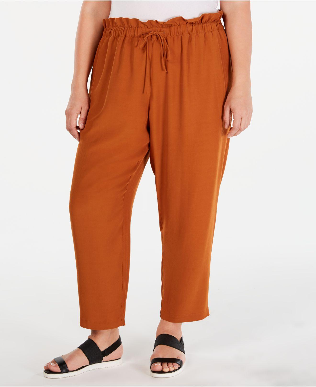 dcb9b4ade4a Lyst - Eileen Fisher Plus Size Paperbag-waist Straight-leg Pants in ...