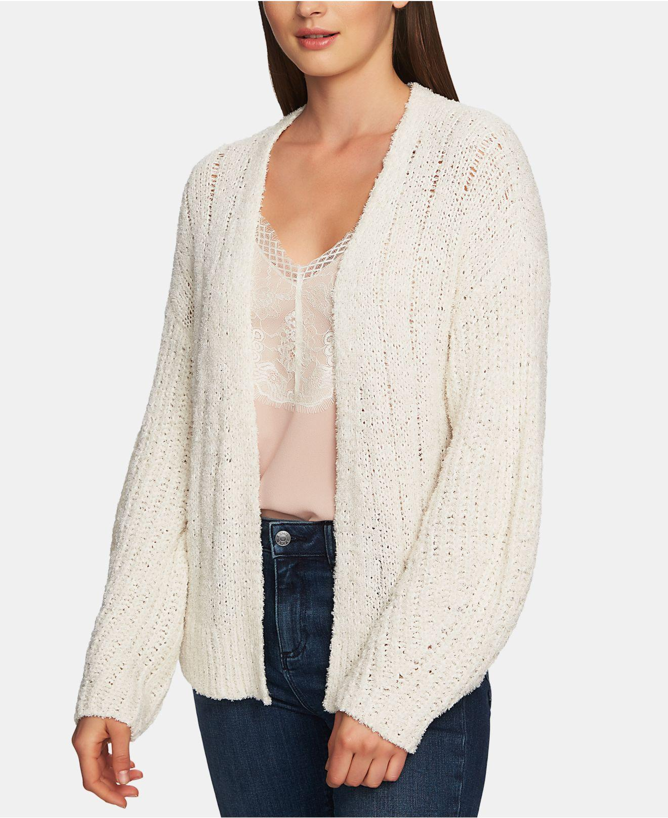 c9b685b24a3 Lyst - 1.STATE Long-sleeve Pointelle Open Cardigan in White