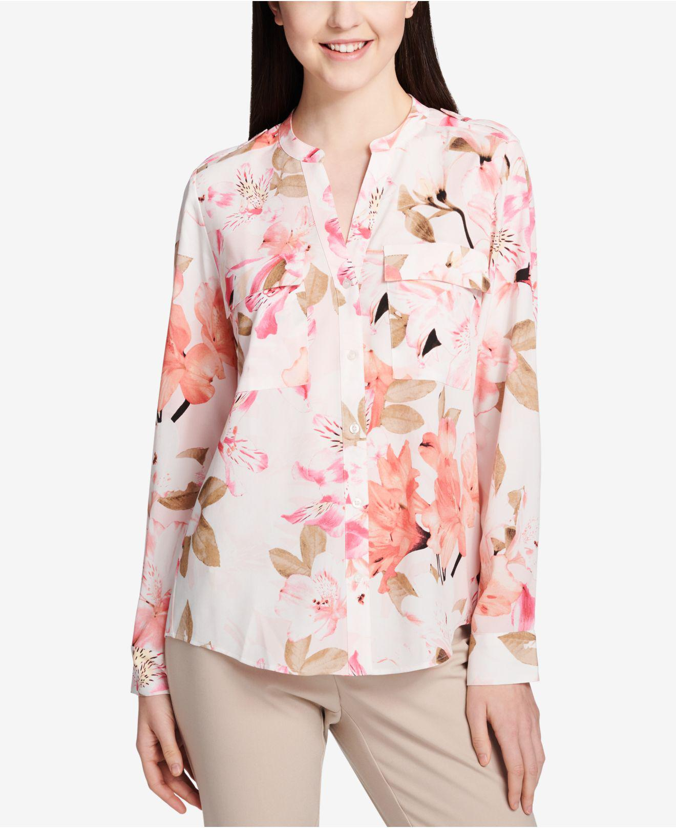 Lyst Calvin Klein 205w39nyc Band Collar Shirt In Pink