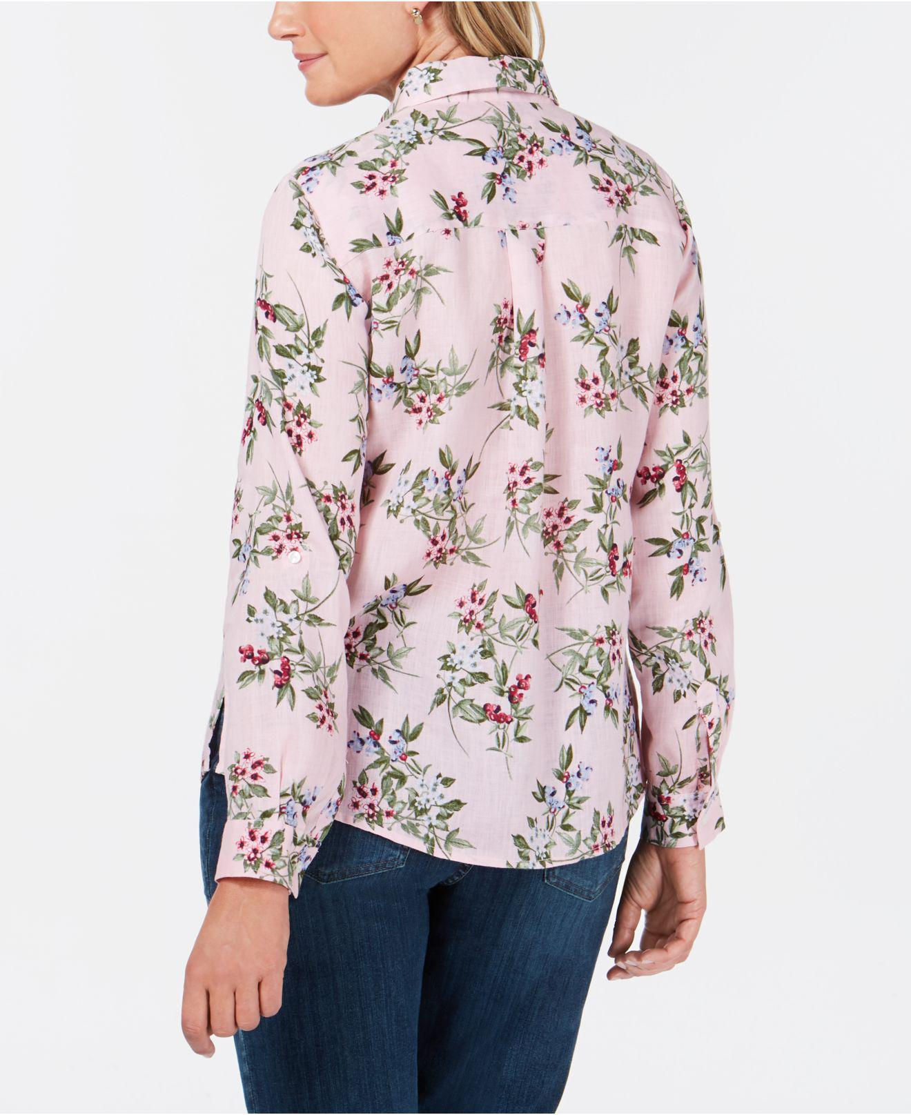 3cf83be9 Lyst - Charter Club Linen Floral-print Utility Shirt, Created For Macy's in  Pink