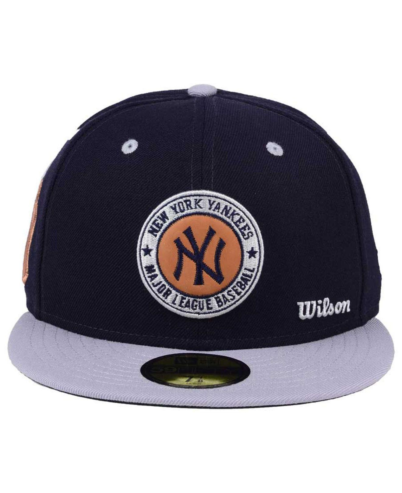 brand new 7675f 43b9c release date lyst ktz new york yankees x wilson circle patch 59fifty fitted  cap in blue
