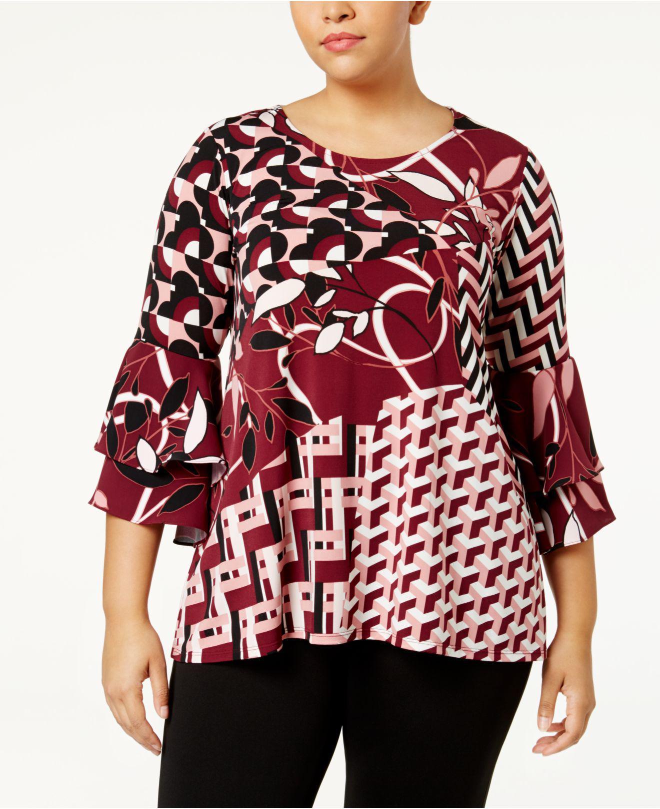 e17653336bb Alfani Plus Size Mixed-print Ruffle-sleeve Tunic in Red - Lyst