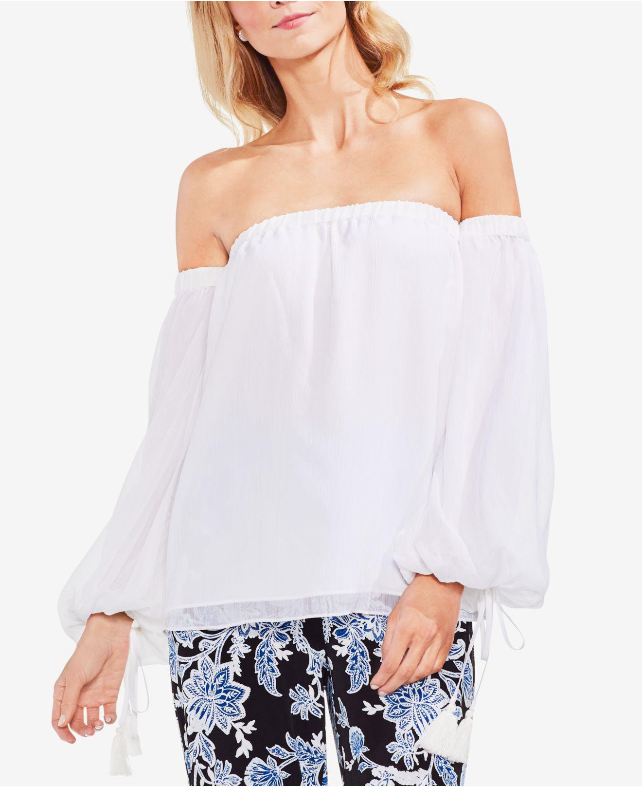 a1bea175591da4 Lyst - Vince Camuto Off-the-shoulder Tassel-detail Top in White