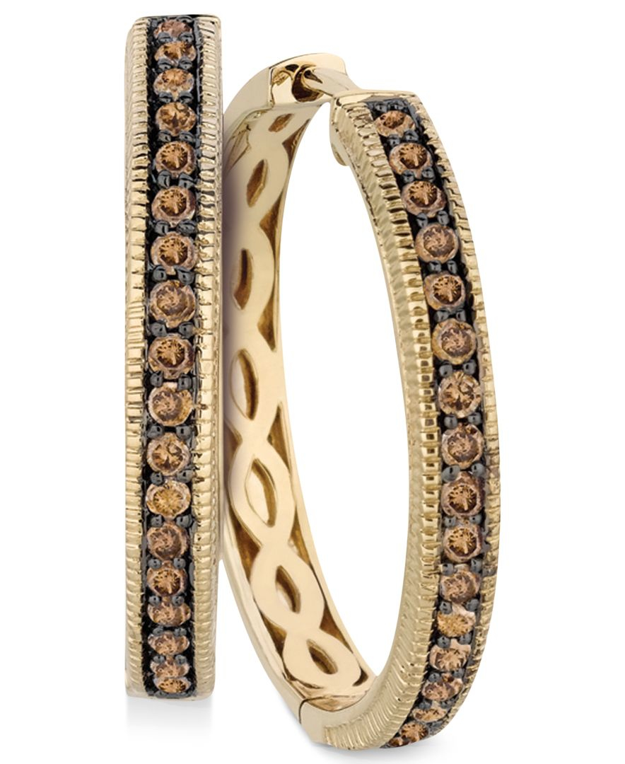 le vian chocolate diamond hoop earrings in 14k yellow gold. Black Bedroom Furniture Sets. Home Design Ideas