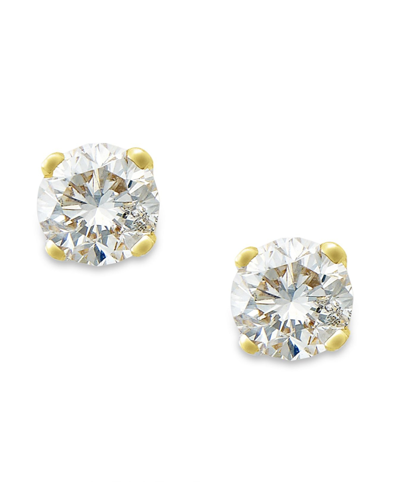 Macy's Round-cut Diamond Earrings In 10k Gold (1/6 Ct. T.w ...