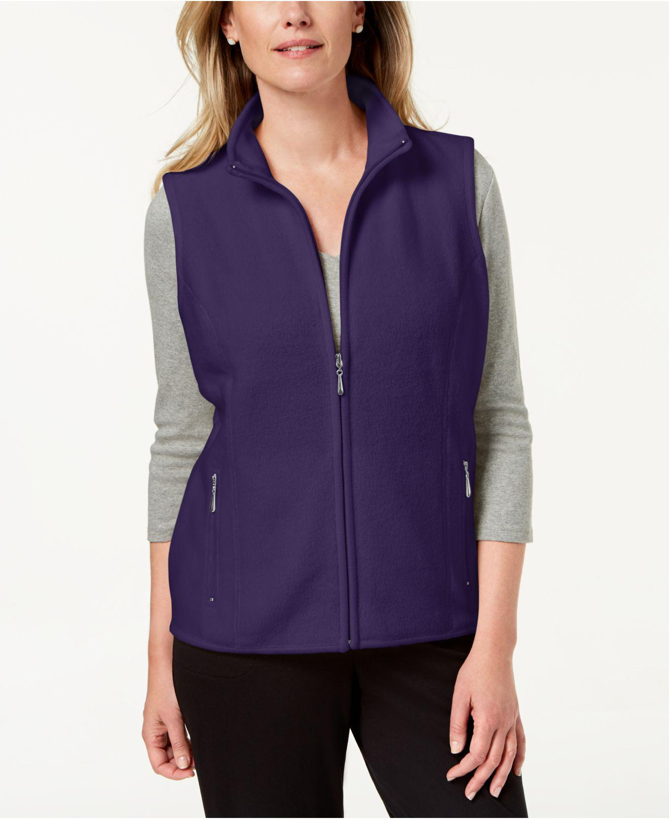 d9ddf3165e0 Karen Scott. Women s Purple Zeroproof Fleece Stand Collar Vest ...