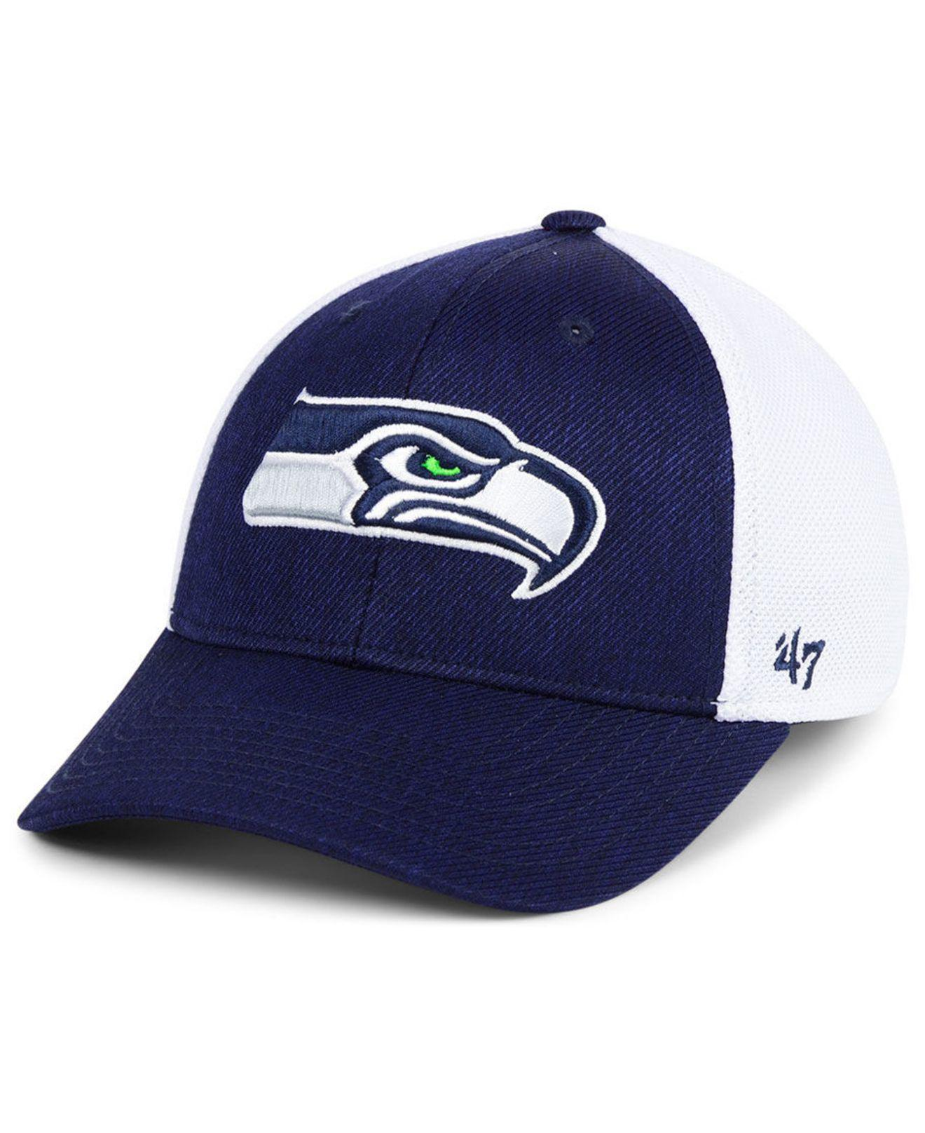 outlet store ada0f 09085 47 Brand. Men s Blue Seattle Seahawks Hazy Flex Contender Stretch Fitted Cap